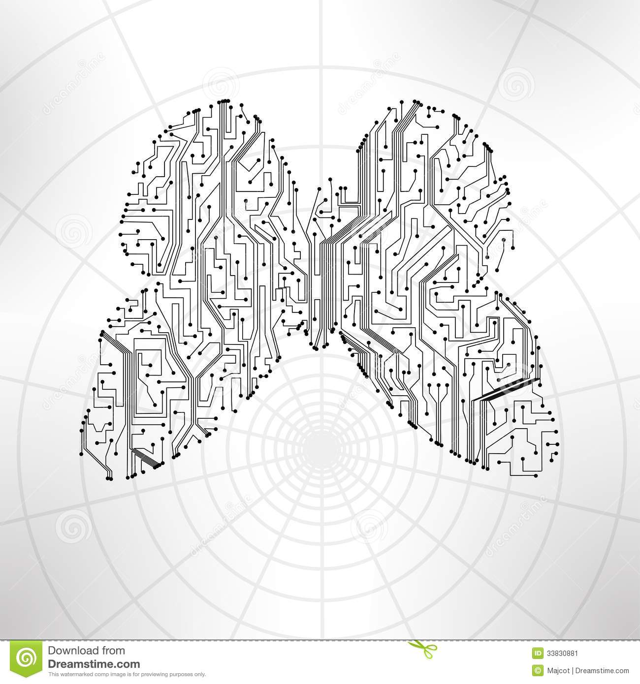 circuit board background butterfly illustration stock