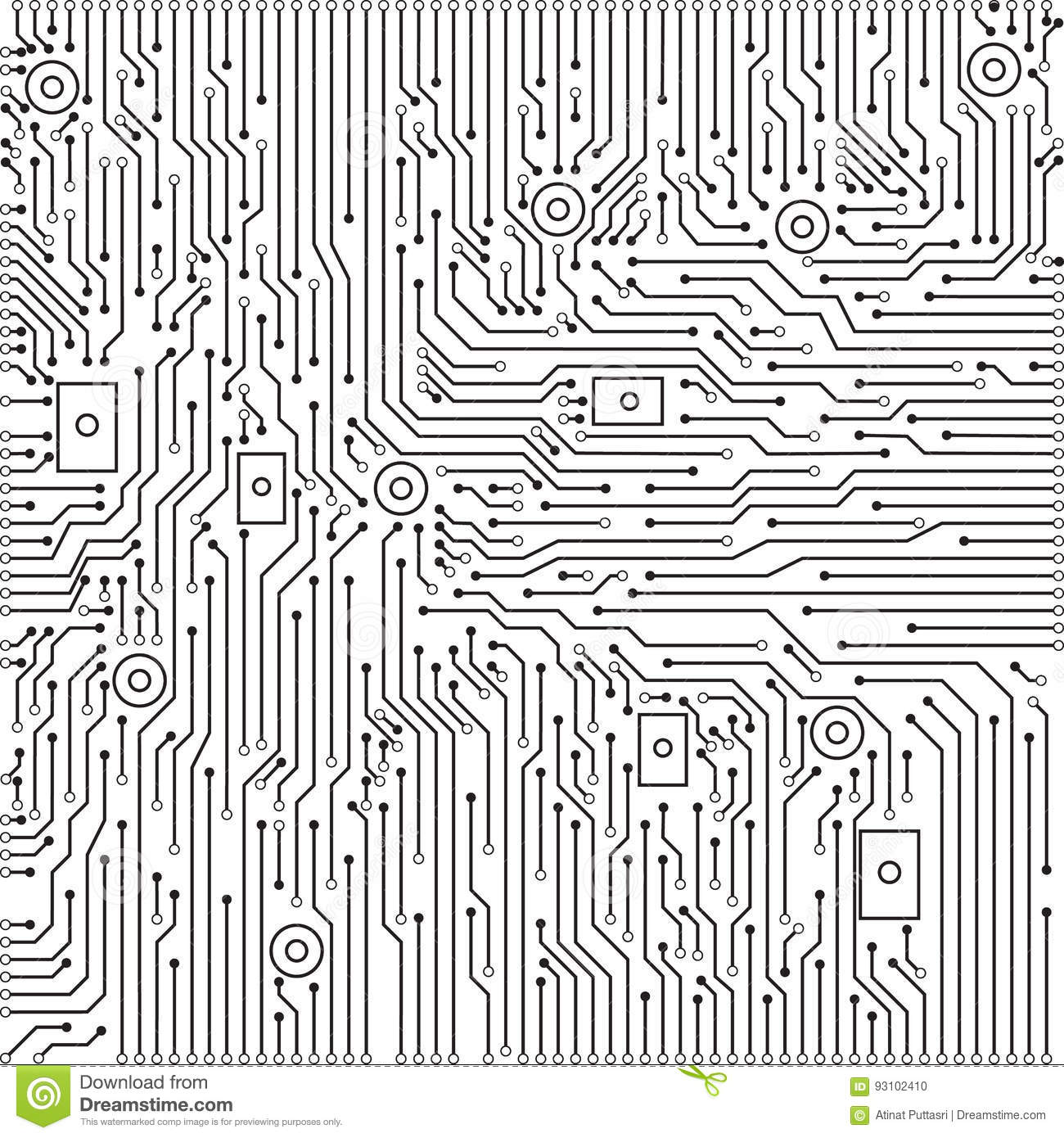 Circuit Board Black And White Vector Background Stock Vector ...