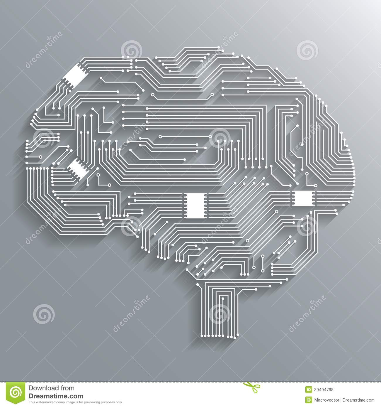 Circuit Brain Reusable : Circuit board brain stock vector illustration of