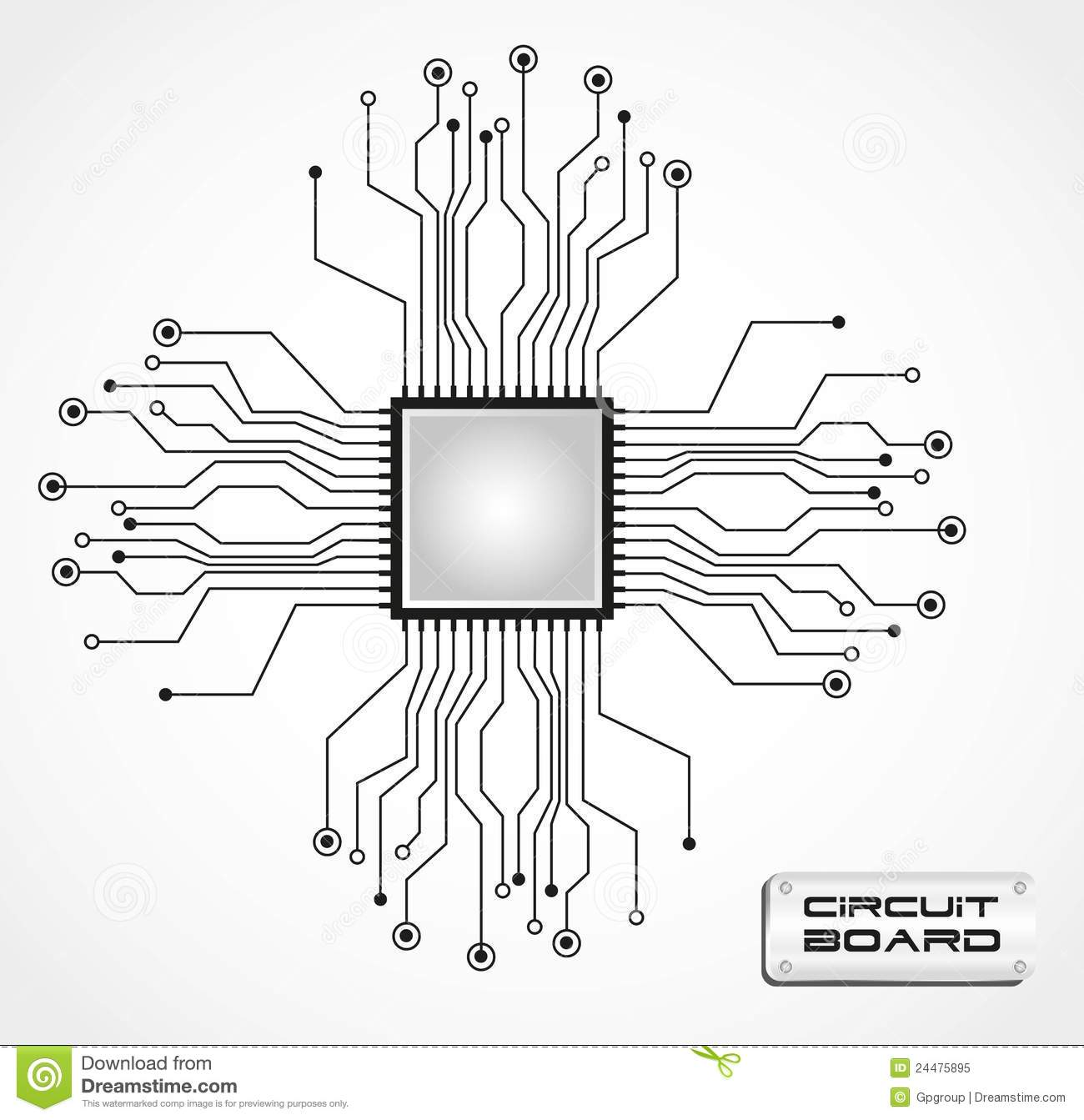circuit board cpu stock vector  illustration of