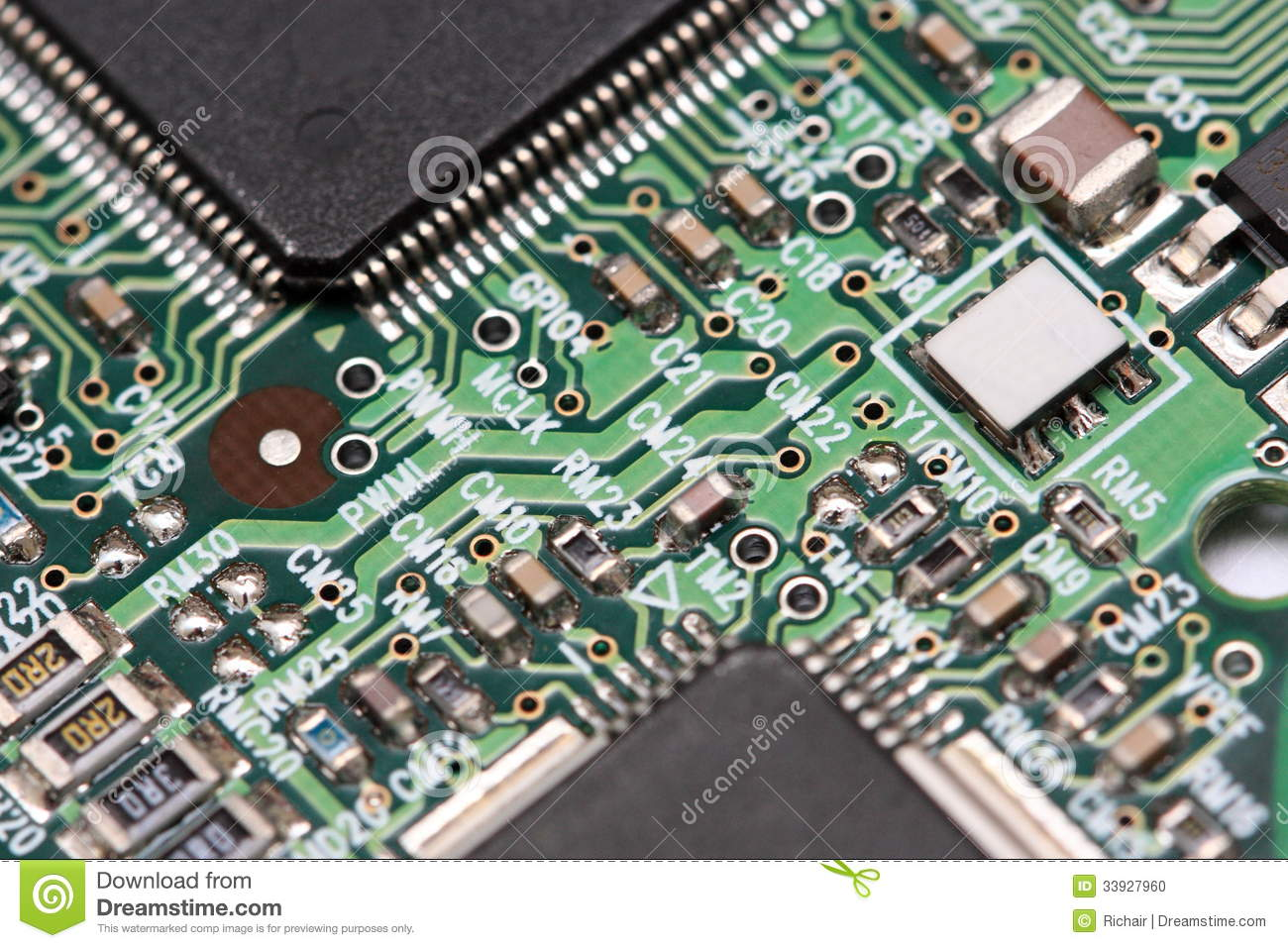Circuit board details stock photo. Image of macro, solder ...