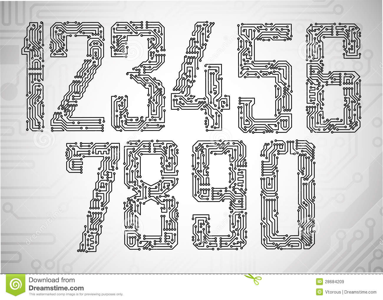 Motherboard Circuit Illustration: Circuit Board Digits Royalty Free Stock Images
