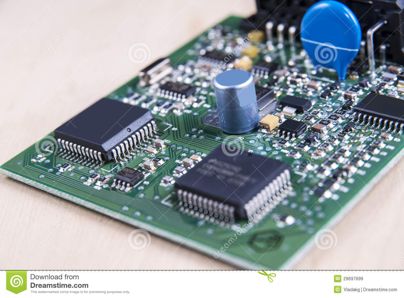 circuit board with electronic components royalty free