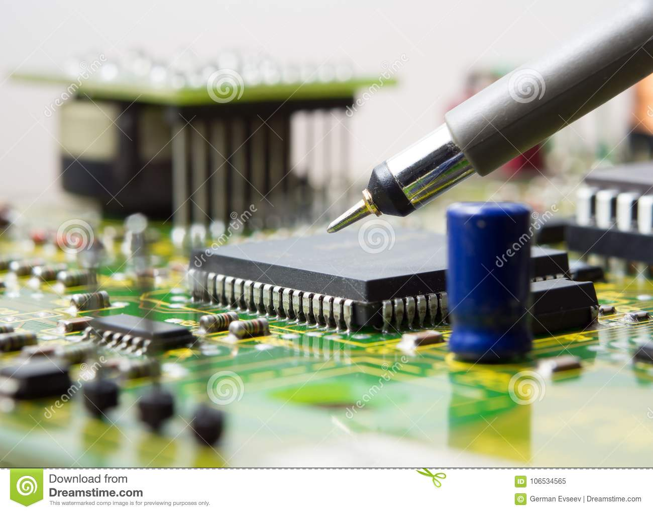 Circuit Board With Electronic Components Background Stock Image Of A