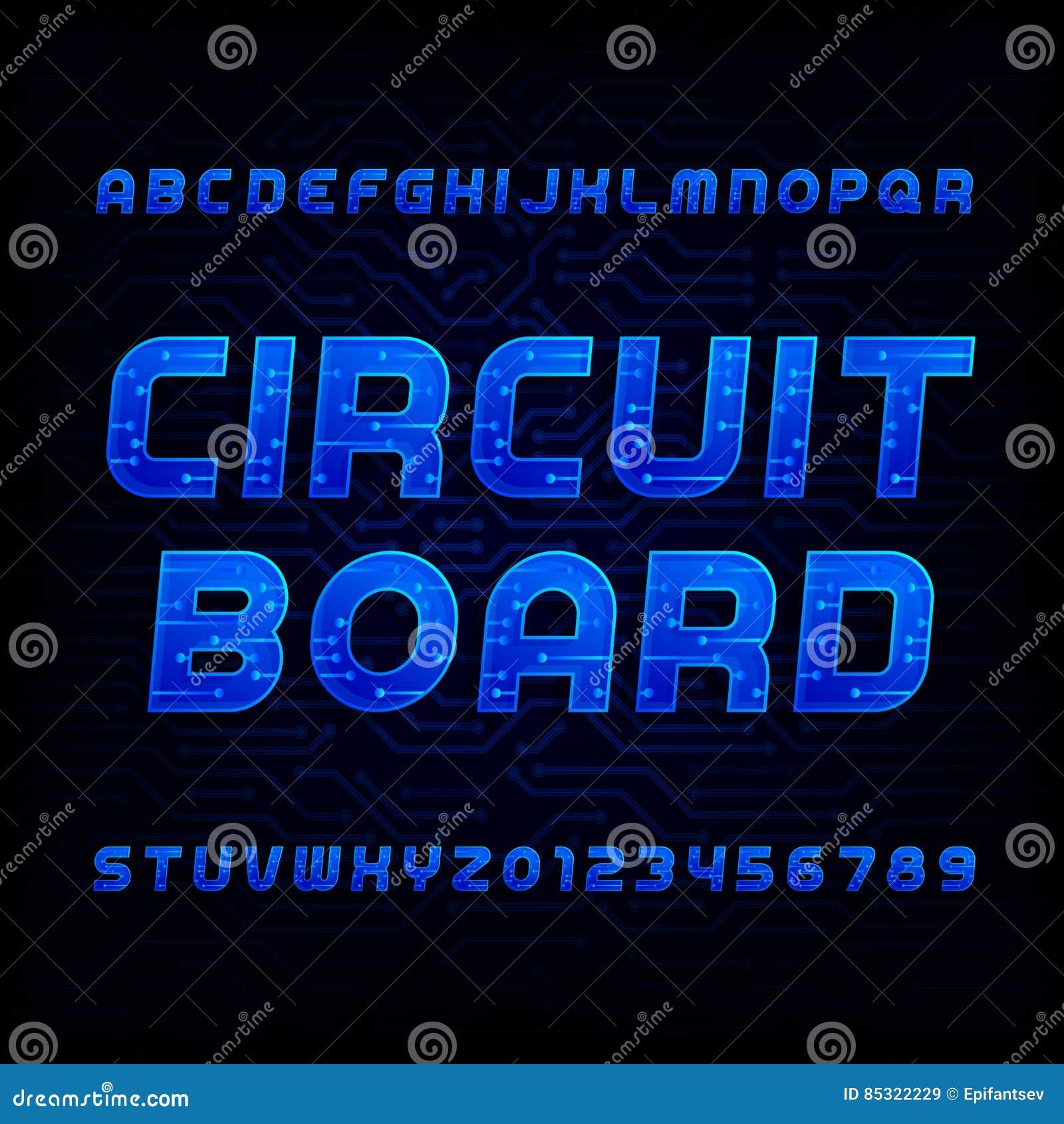 Circuit Board Font Vector Alphabet Digital Hi Tech Style