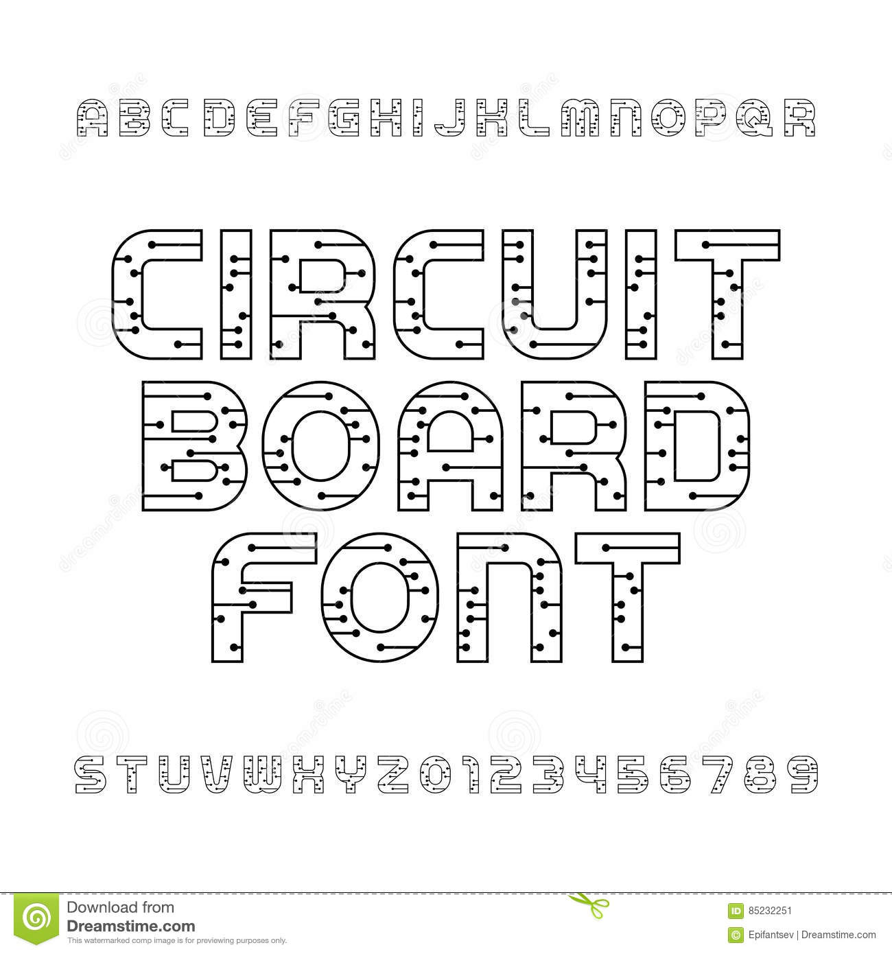 Old Fashioned Circuit Type Font Image Collection - Electrical ...