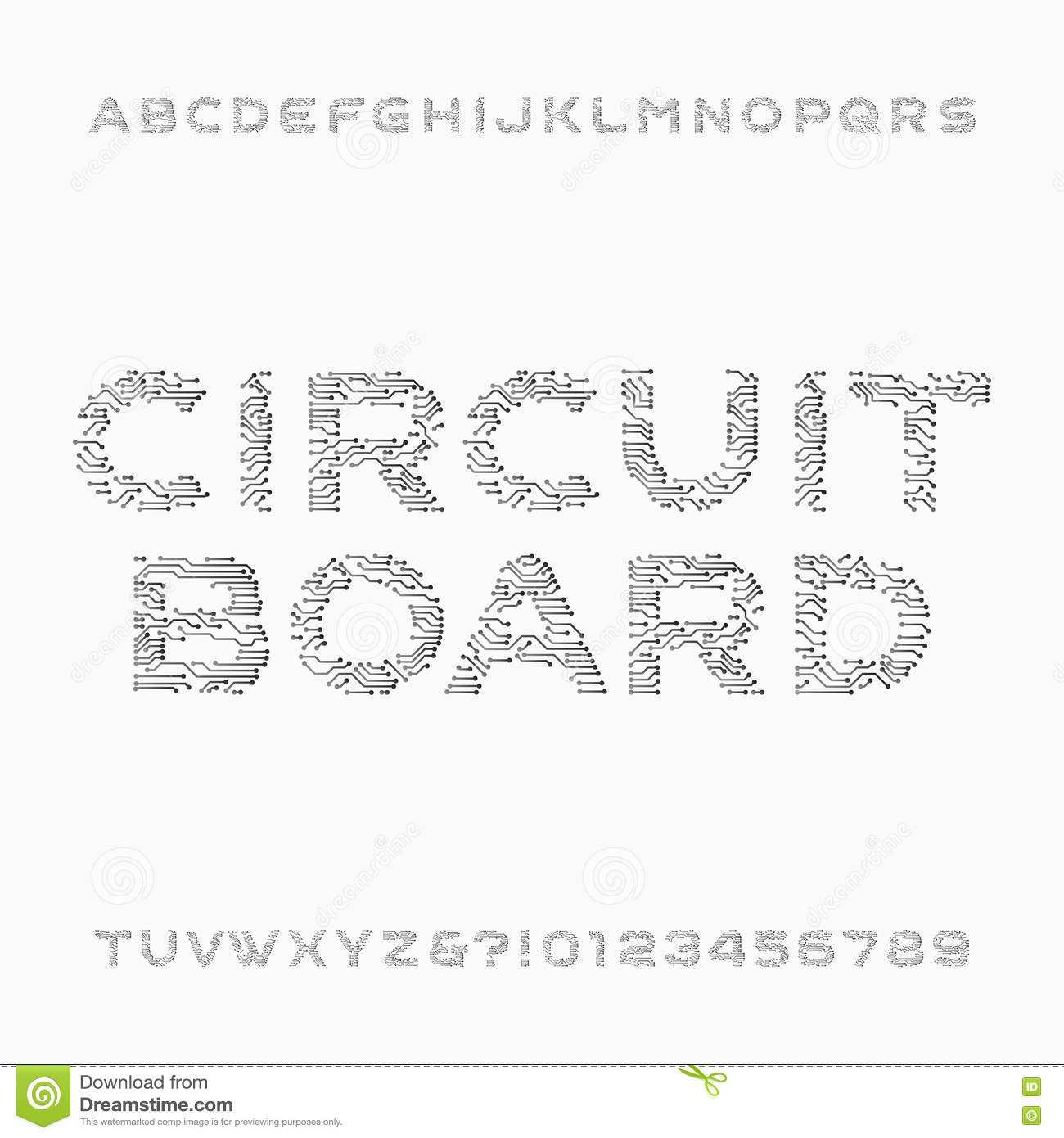 Circuito And : Circuit board font. vector alphabet. digital hi tech style letters