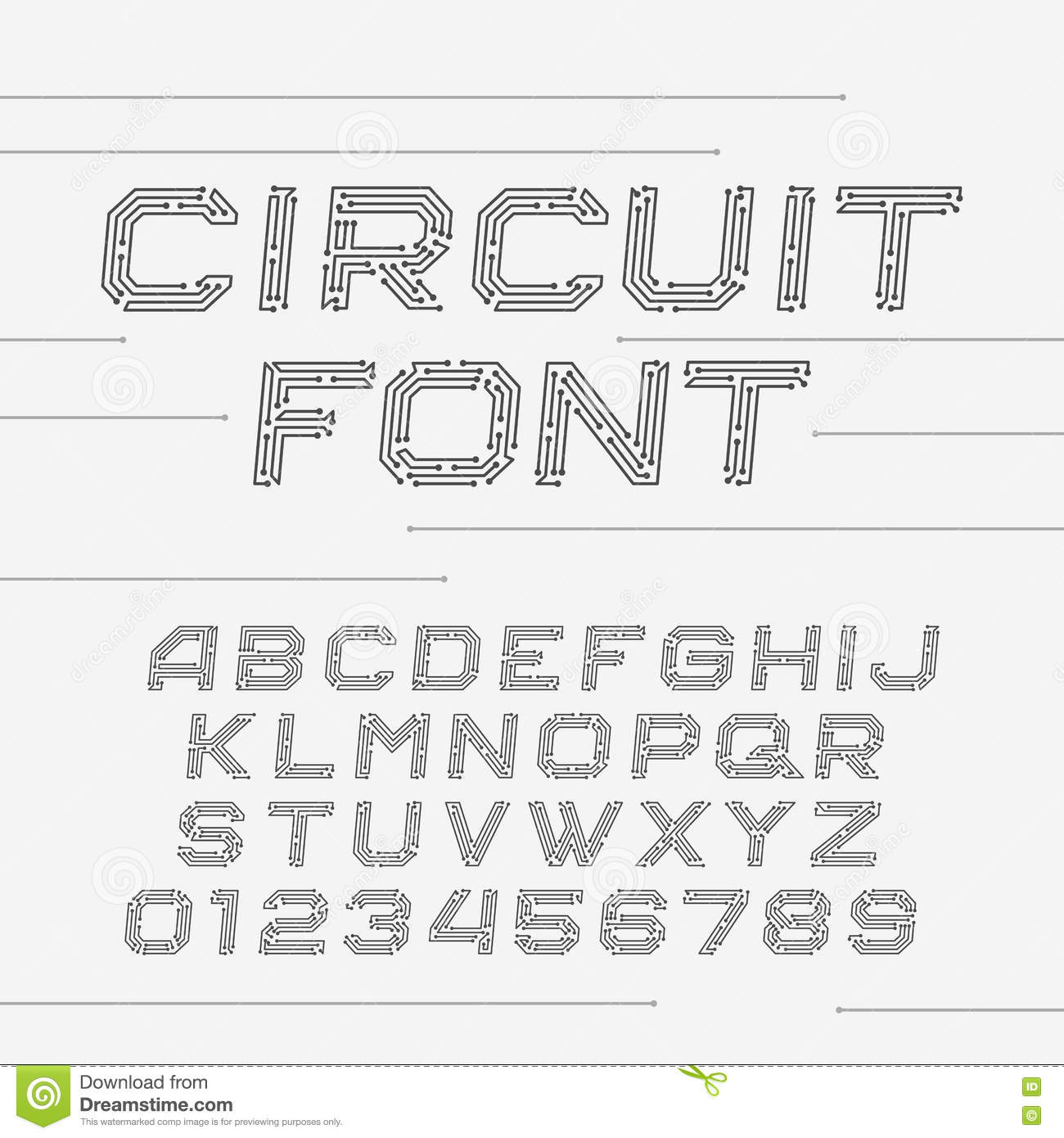 Circuito And : Circuit board font. vector alphabet. stock vector illustration of