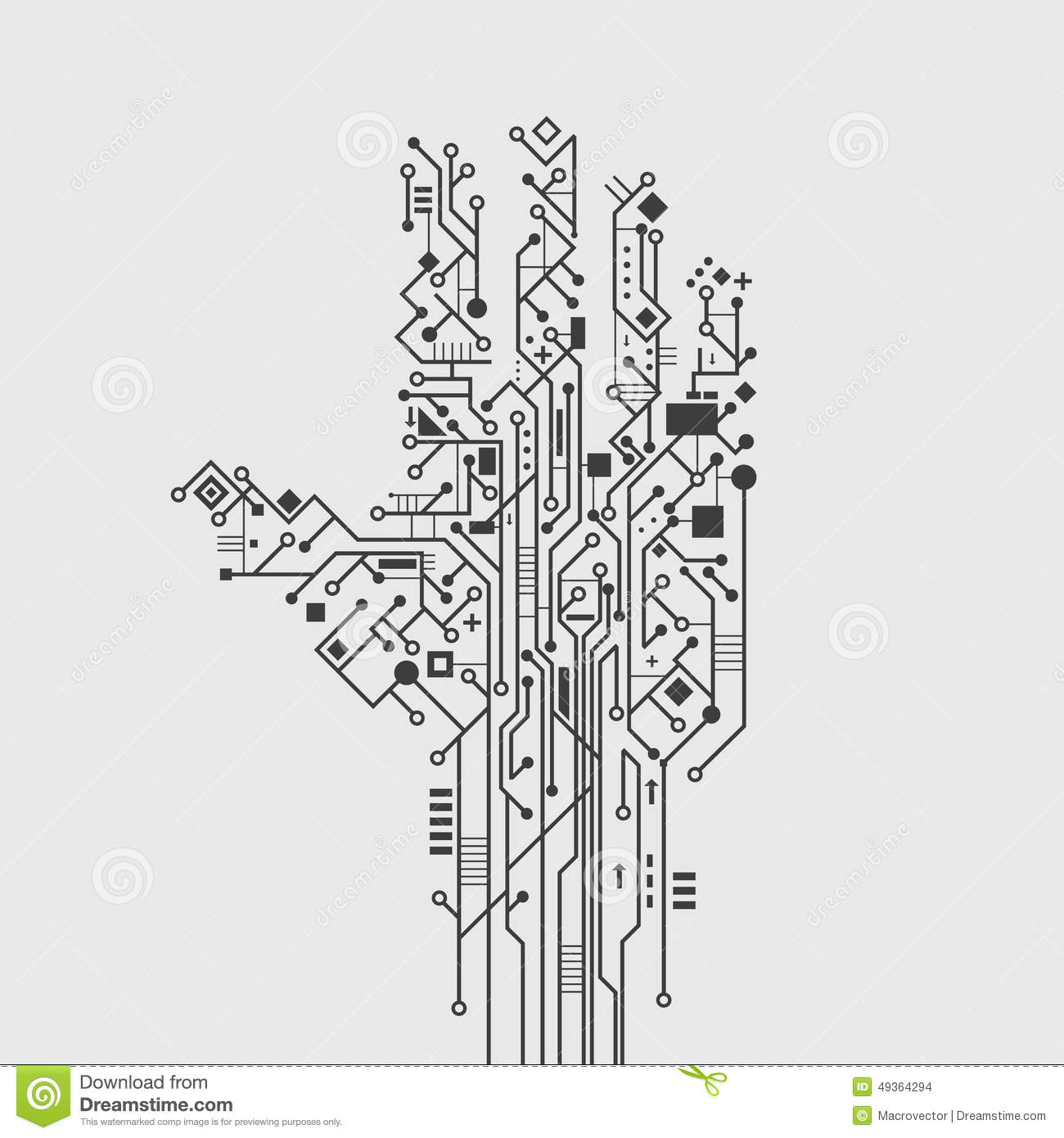 circuit board hand stock vector