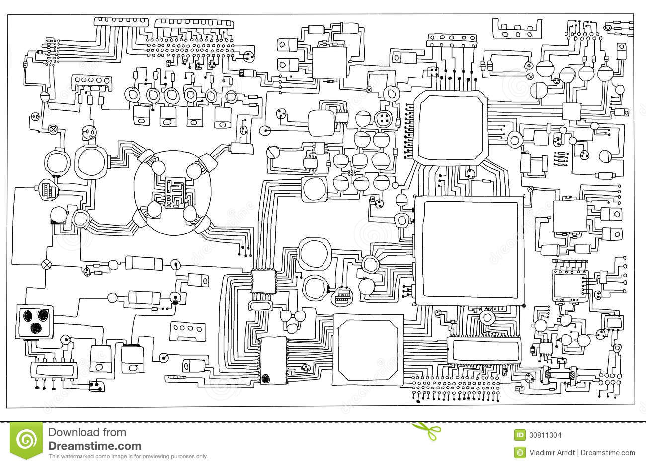 circuit board stock illustration illustration of drawn 30811304 rh dreamstime com Hand Drawn Note Diagrams Notes in Diagram