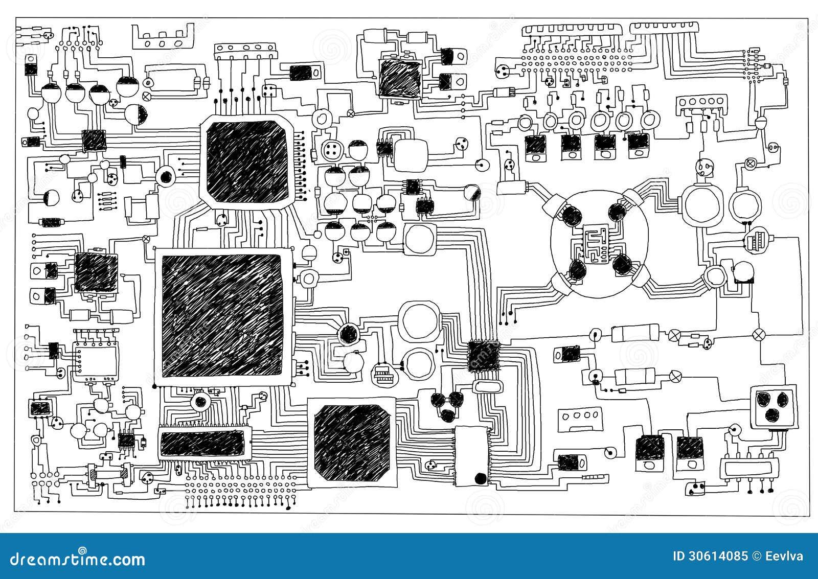 Circuit board. stock illustration. Illustration of chip - 30614085
