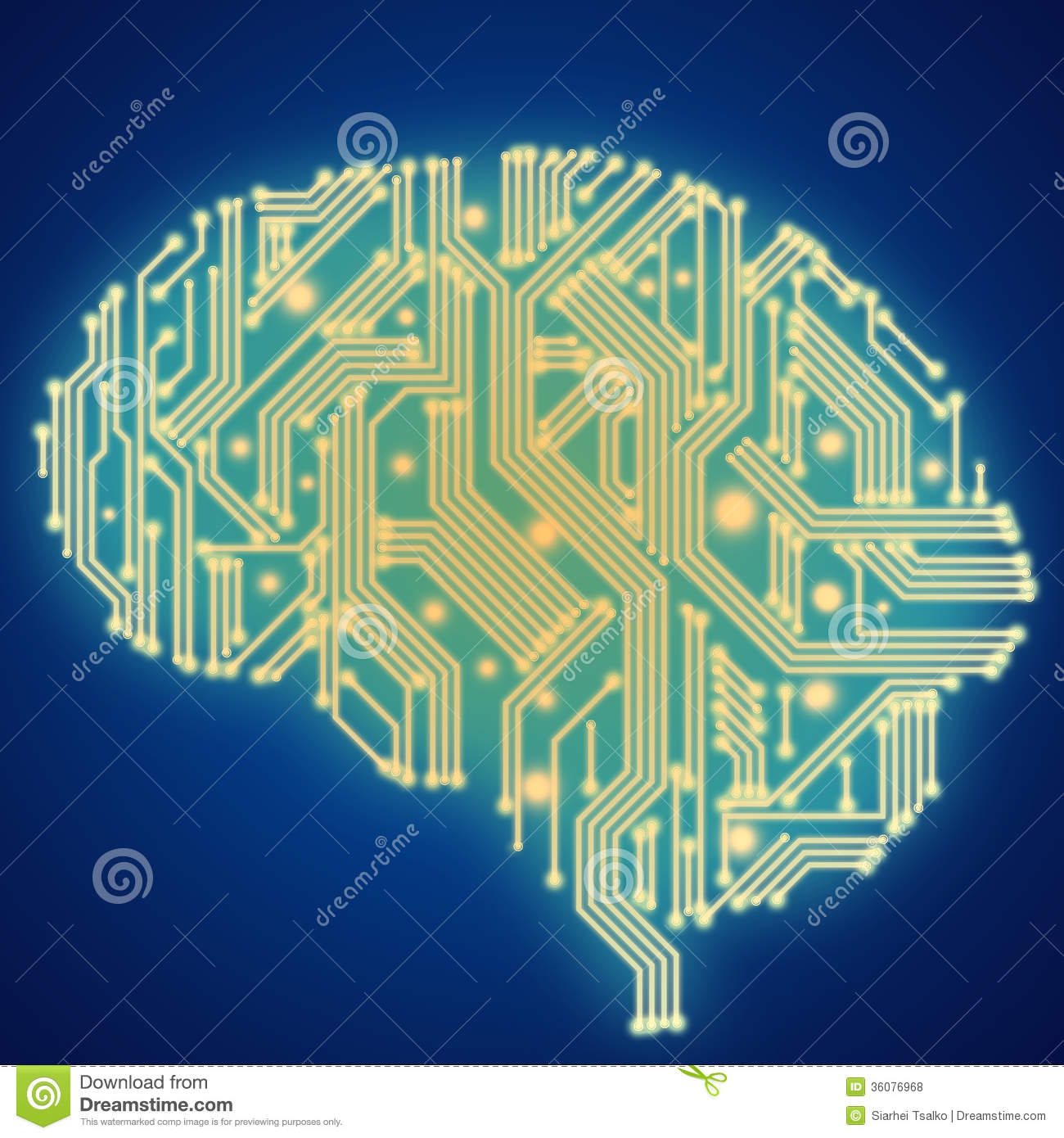 Circuit Brain Reusable : Circuit board in human brain form technological