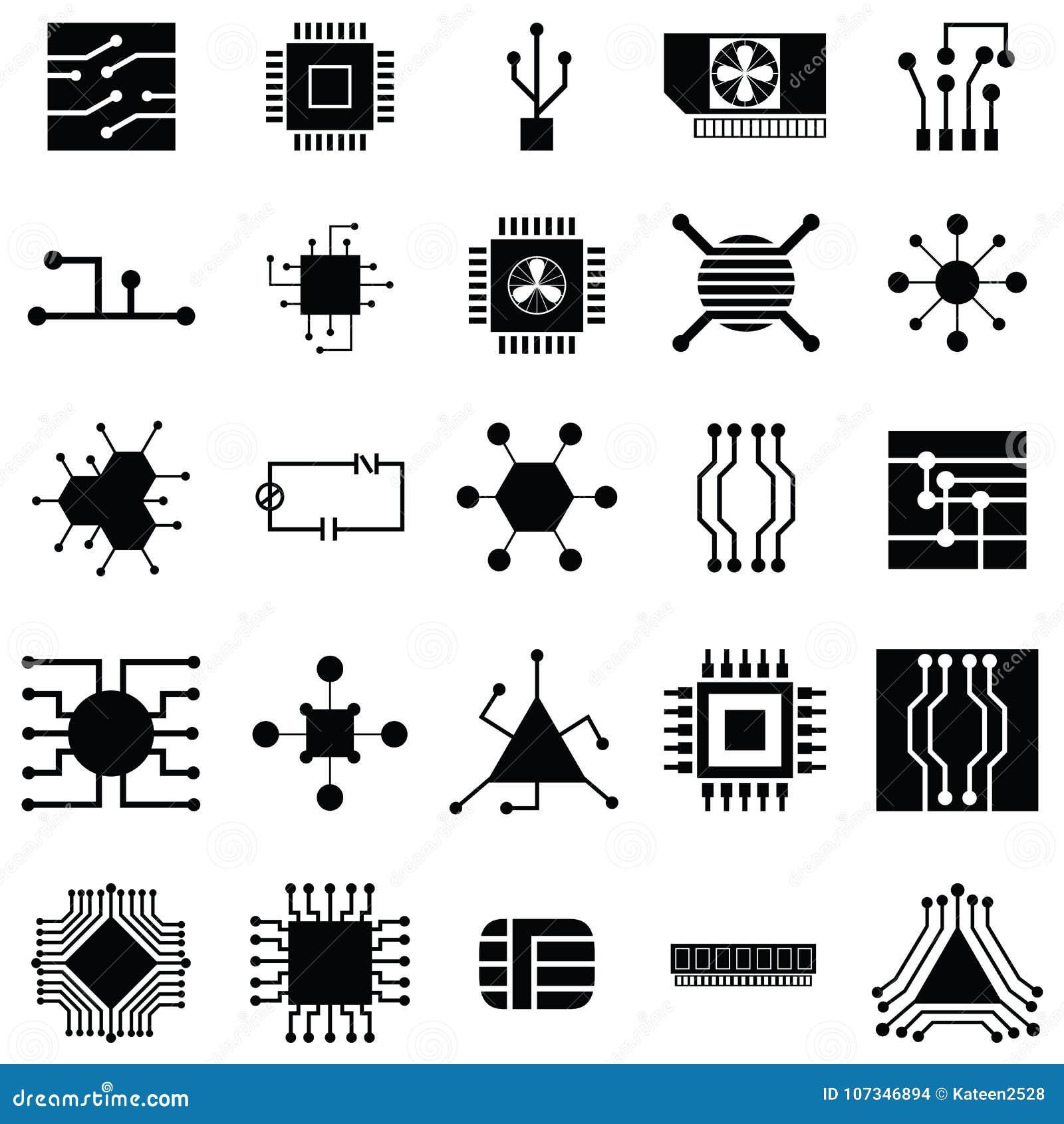 circuit board icon set stock vector  illustration of illustration