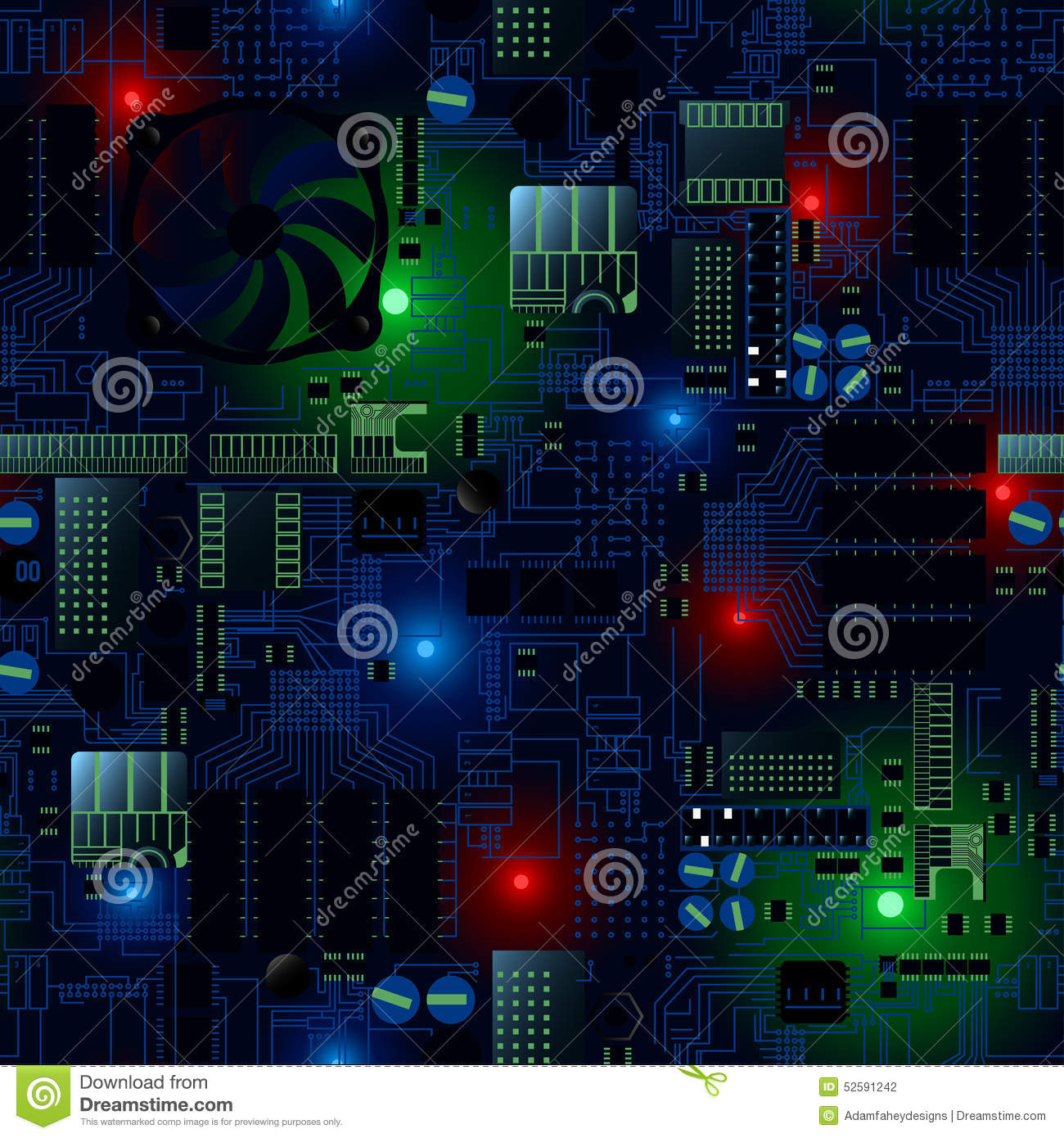 Circuit board with LED s and wires seamless pattern