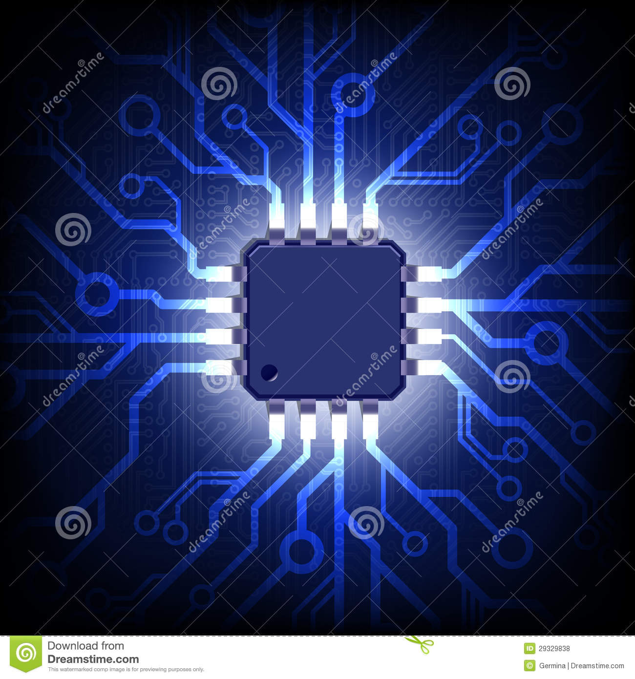 Circuit Board With Microchip. Vector Background. Royalty ...