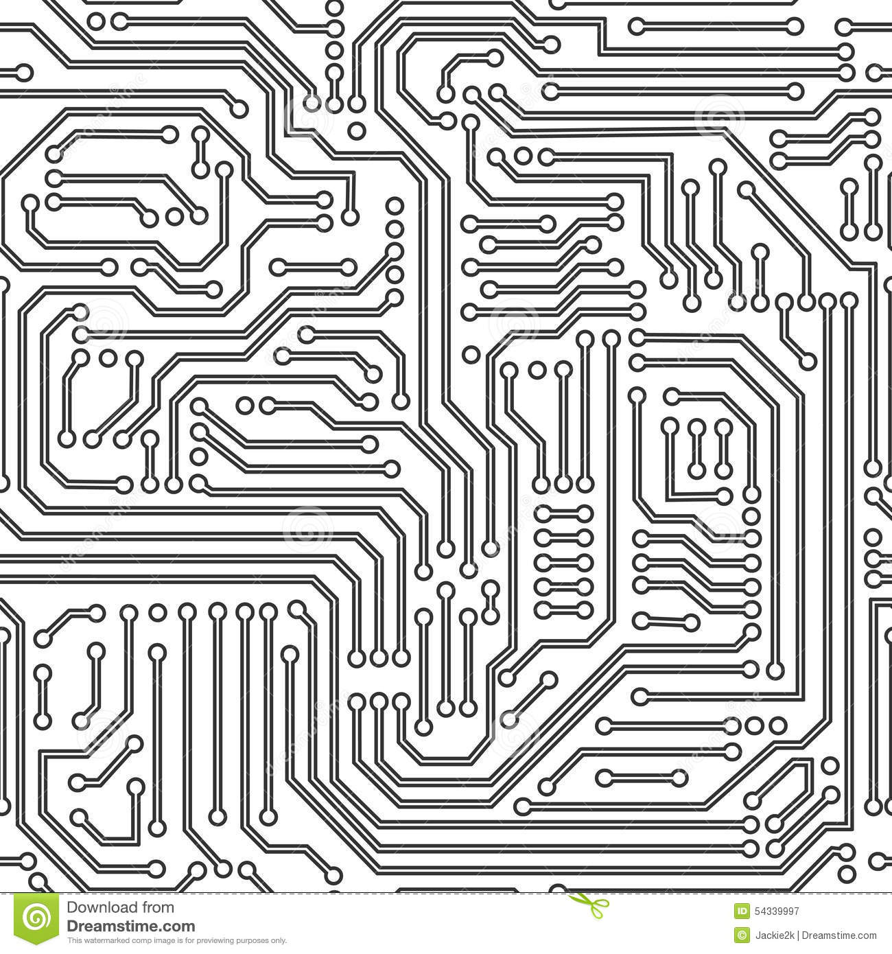 Circuit Board Seamless Pattern Black And White Stock Vector ...