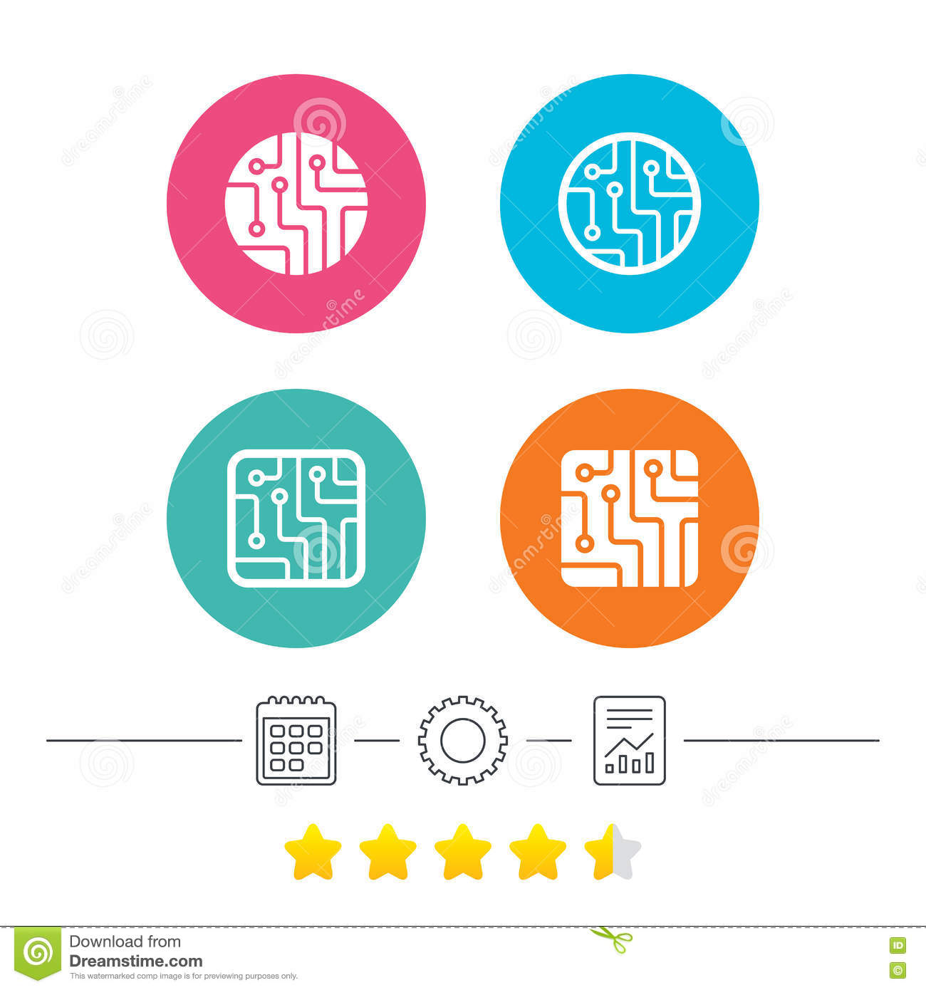 Circuit Board Signs. Technology Scheme Icons. Stock Vector ...