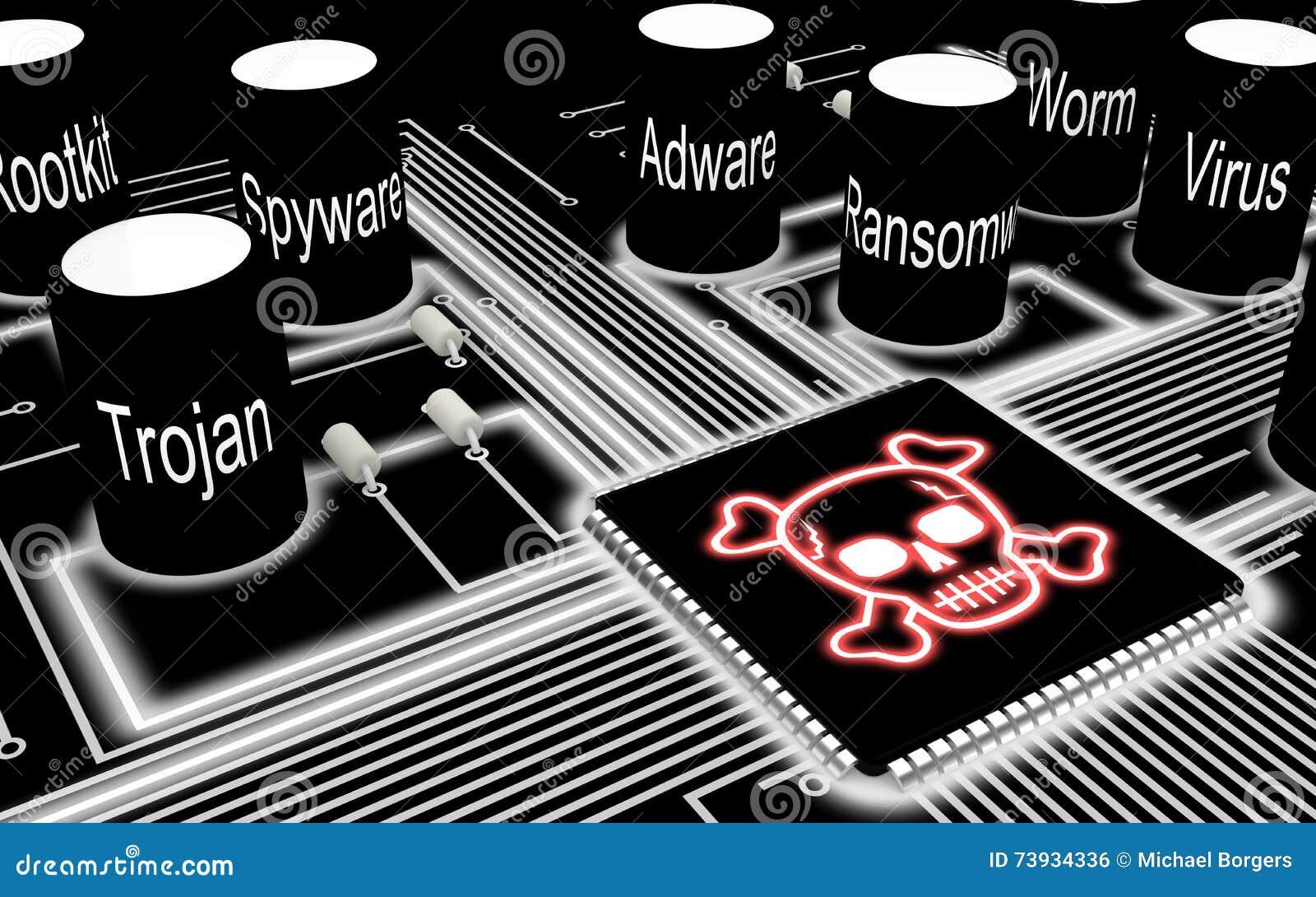 Circuit Board With Skull Chip Stock Illustration - Illustration of ...