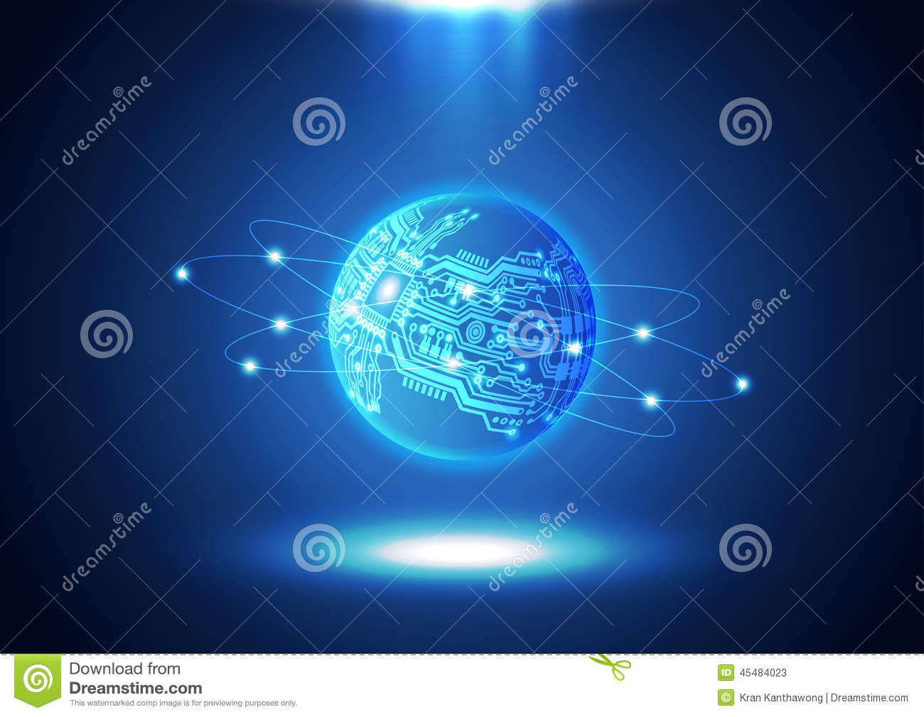 Abstract Binary Code World Map Stock Illustration Wireframe Globe On Circuit Board And Background Technology Texture