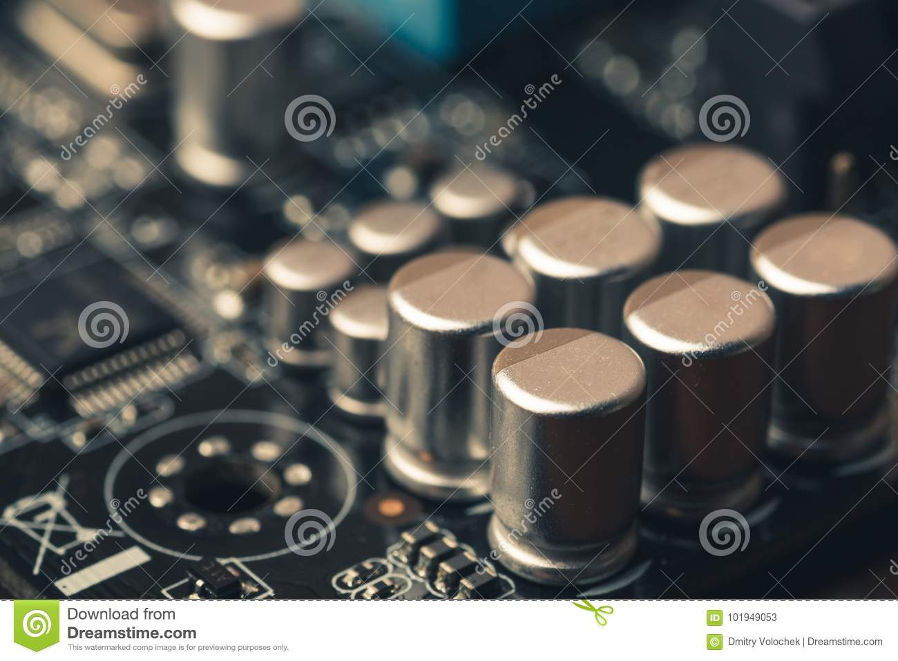 Circuit Board With Transistors And Computer Processors As Abstract Download Technology Background Stock Image