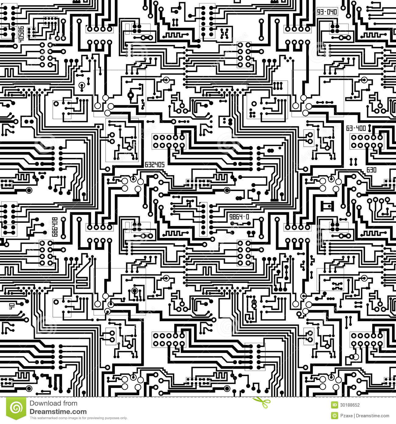 Electronic Pattern Making : Circuit board vector seamless technological patter stock
