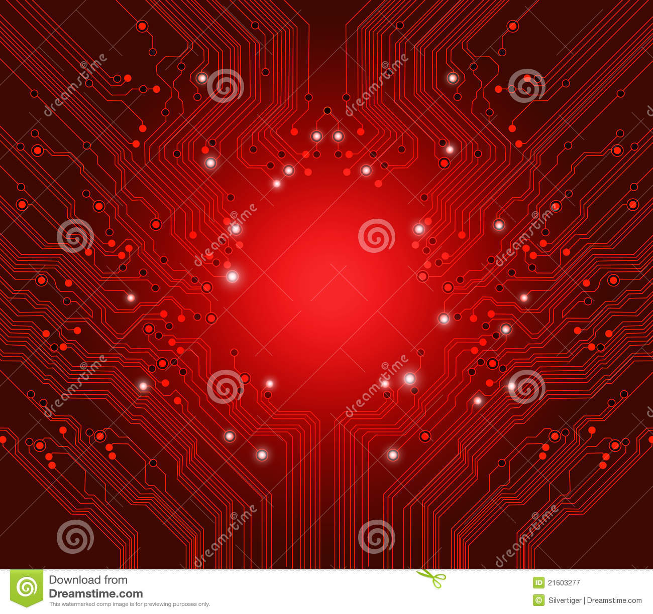 Circuit Board Vector Red Background Royalty Free Stock