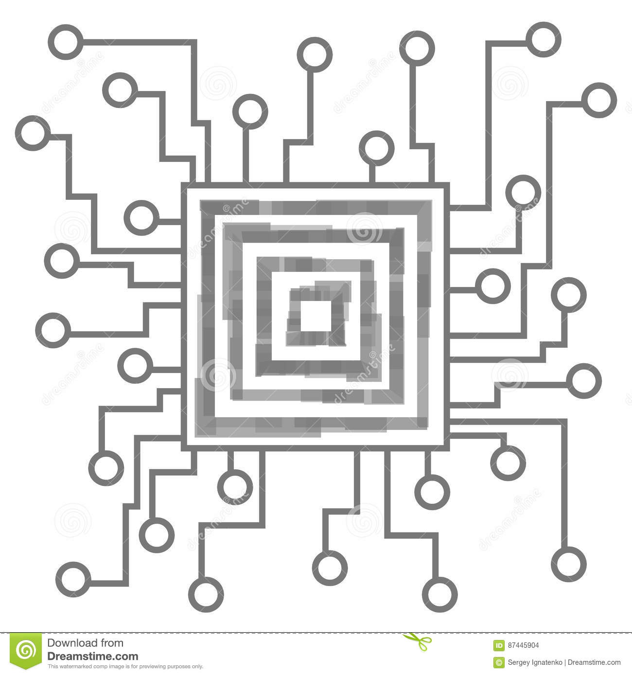 circuit board on white background  processor and chip