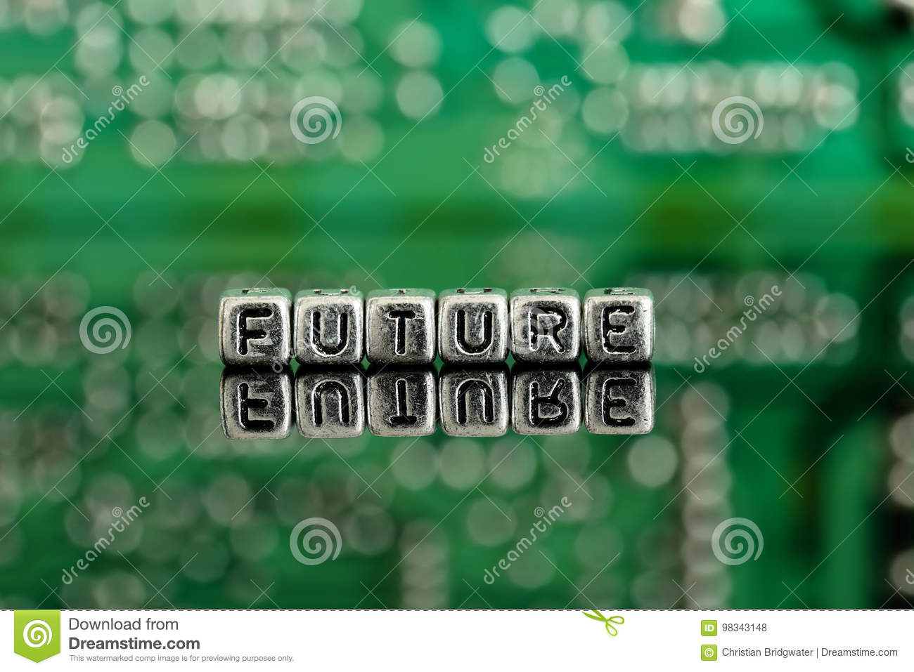 Keypad Combination Lock Circuit Board With The Word Future On Beads Stock Photo Image Of