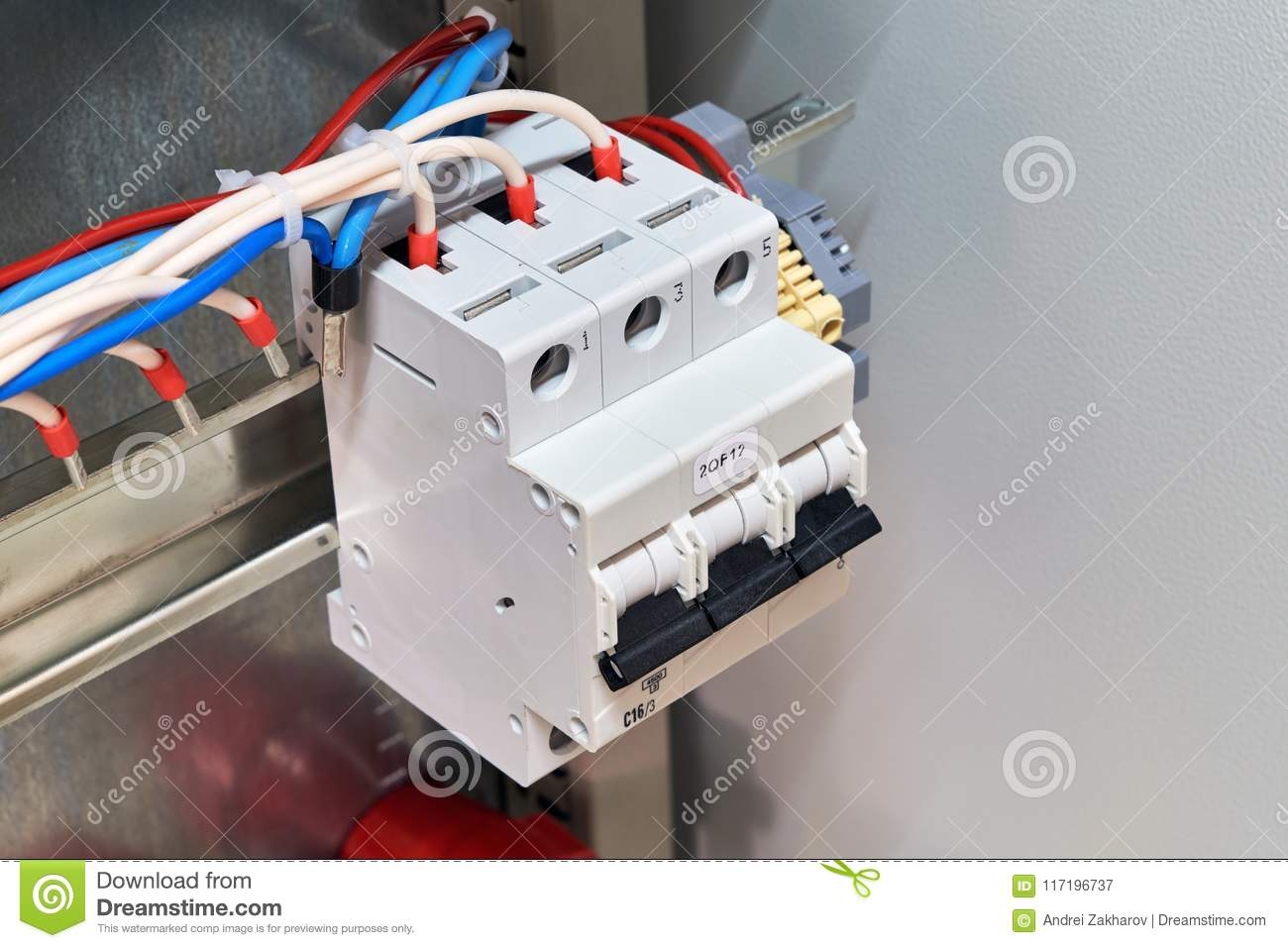 Circuit Breaker With Connected Wires Or Cables In Electrical Cabinet ...