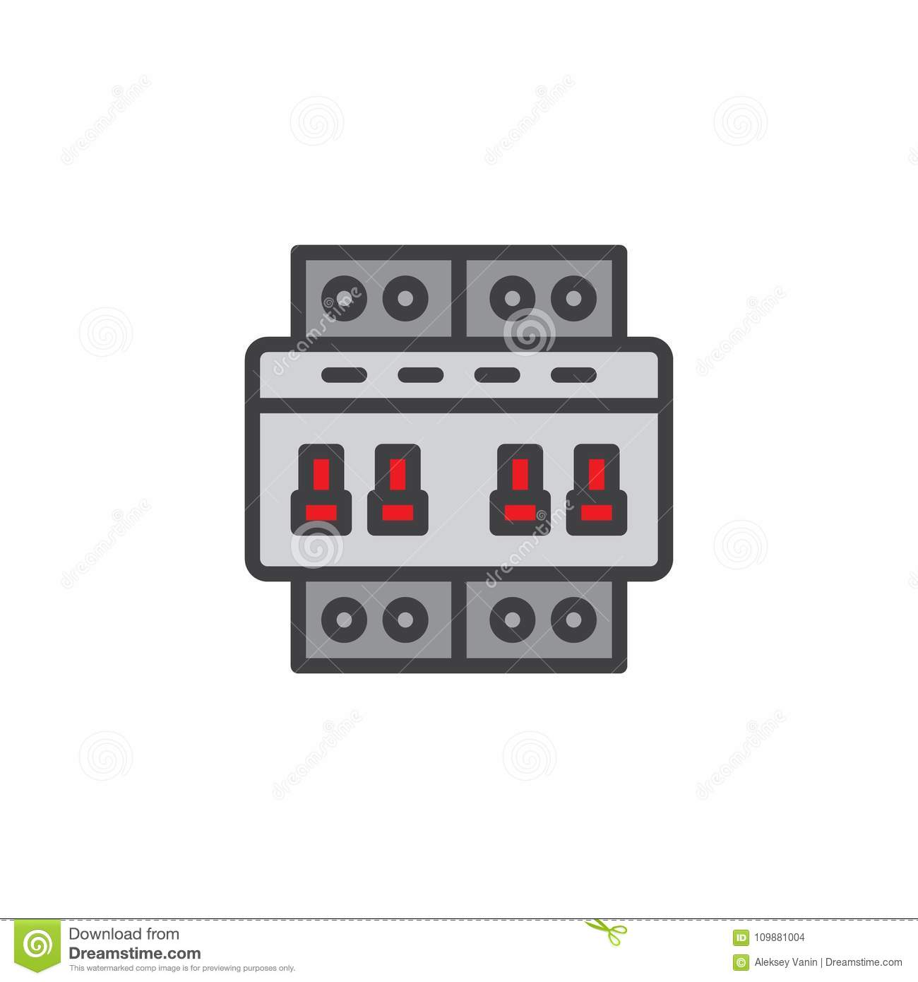 Circuit Breaker Switch Filled Outline Icon Stock Vector Line