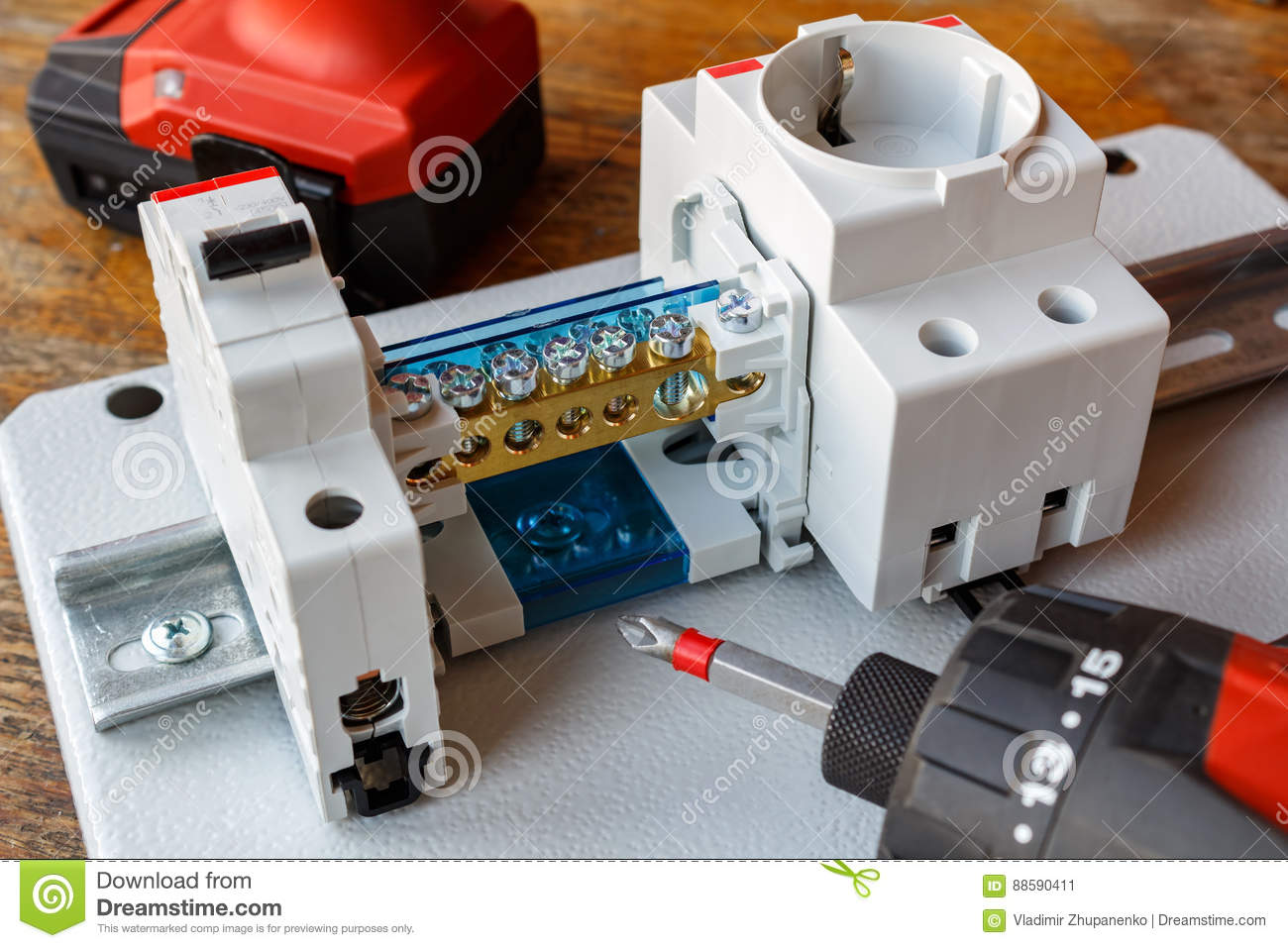 Circuit Breaker With Wire Terminal Block And Electric Socket On The Electrical Wiring Breakers Electrician Download Din Rail Stock Image