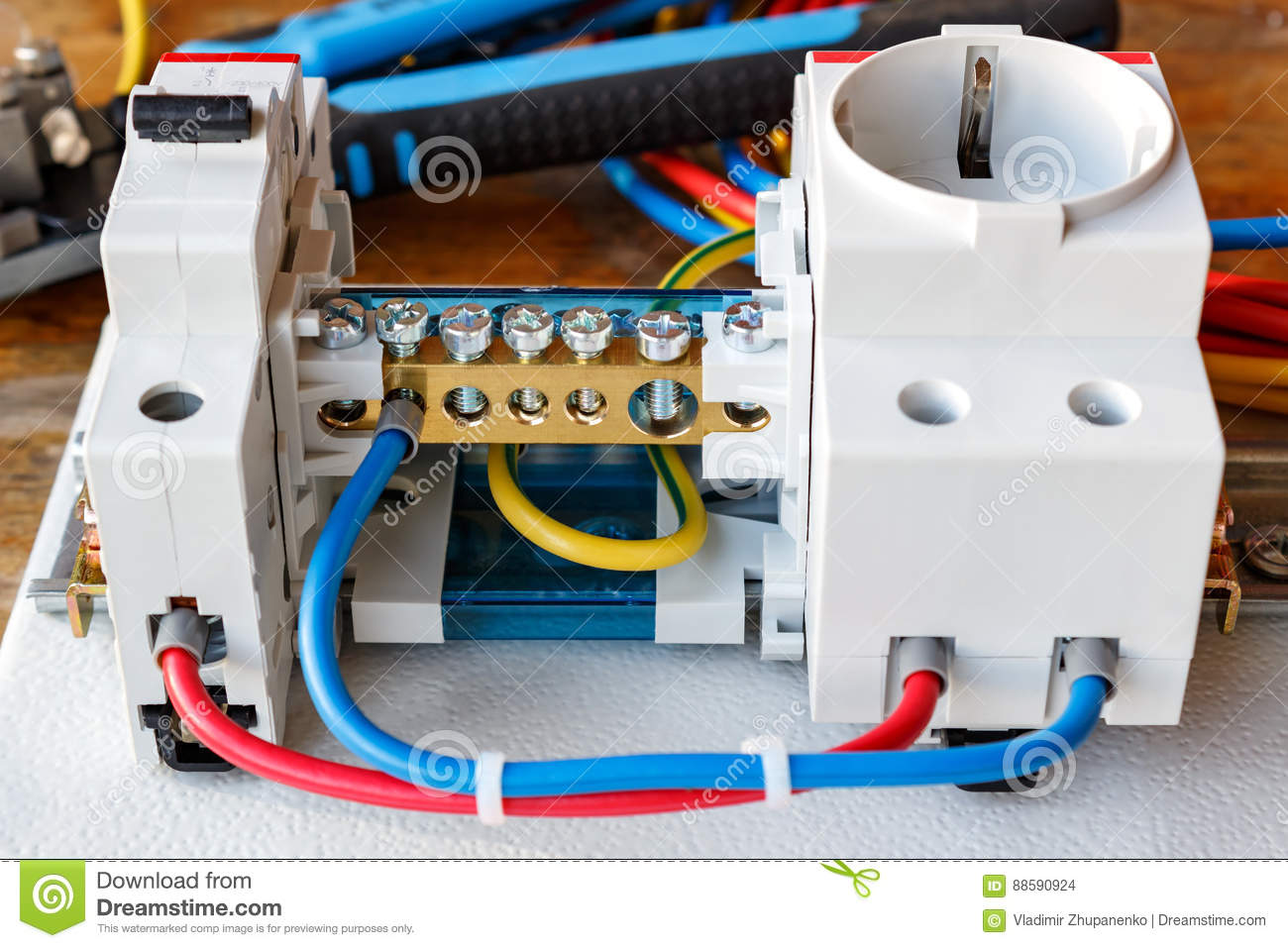 Circuit Breaker Wire Terminal Block And Electrical Socket With Ac Wiring Connected Wires