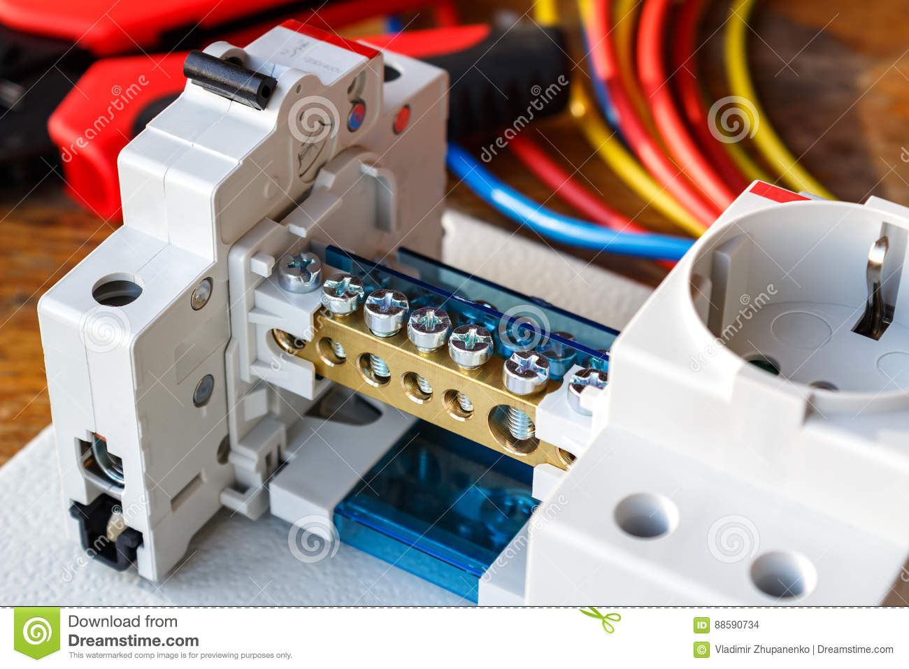 Circuit Breaker With Wire Terminal Block On The Mounting Plate Stock Phone Wiring