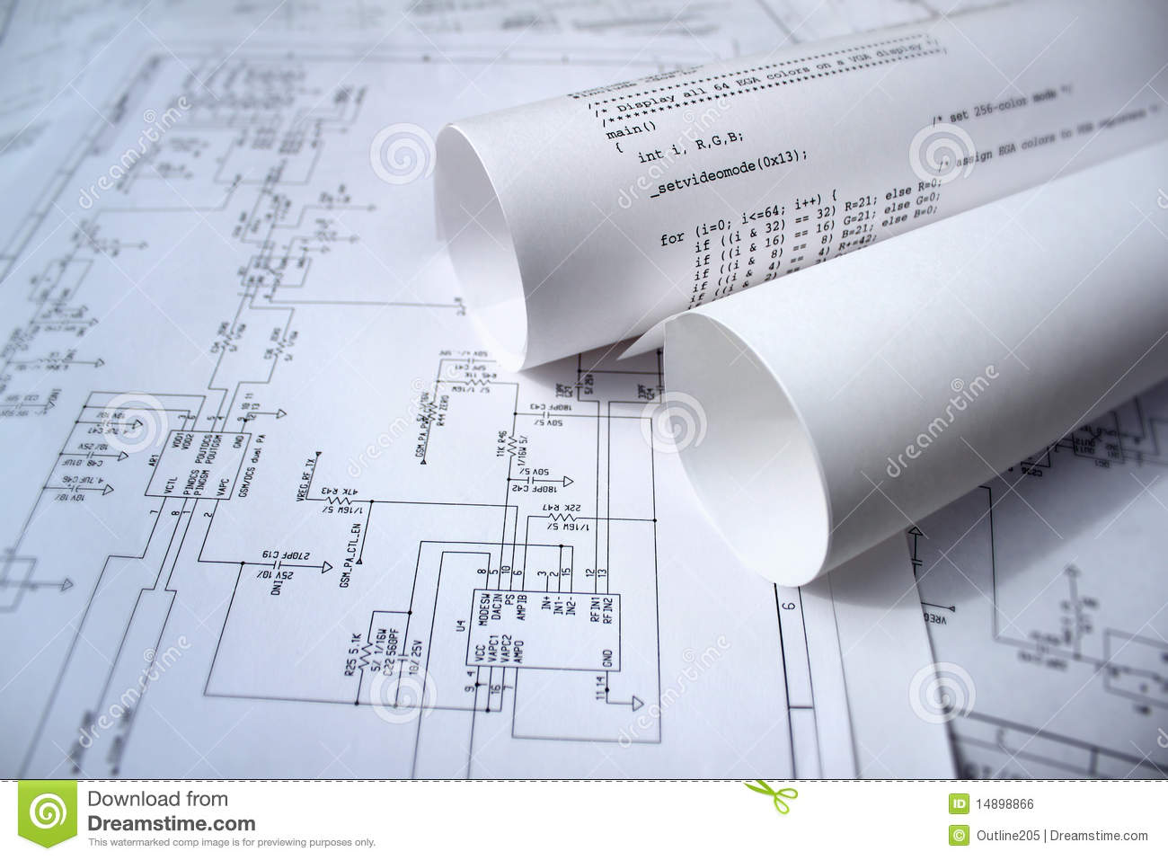 Circuit Diagram And Software Stock Photo Image Of Mobile Engineer Draw A Online