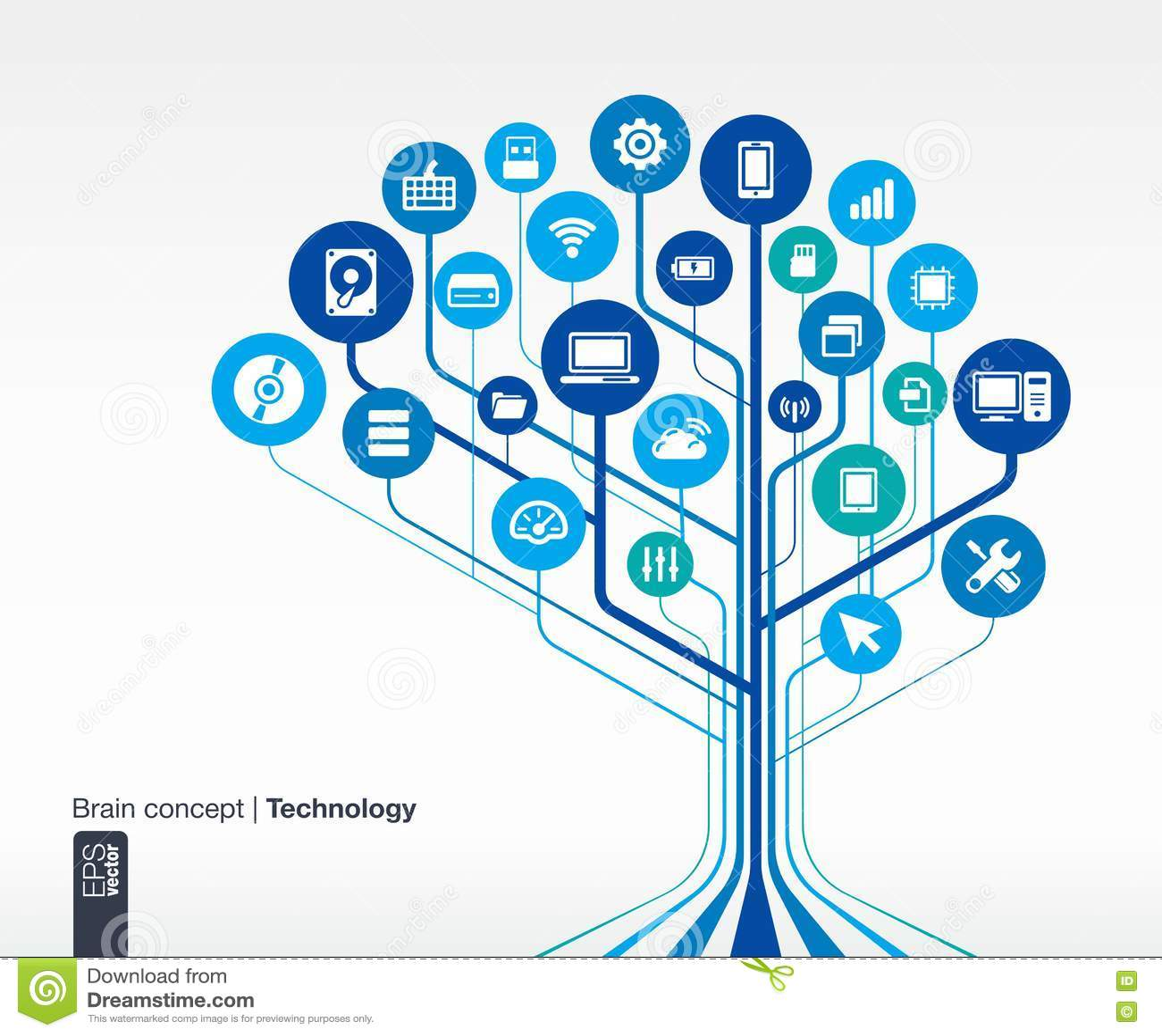 Circuit Technology Background. Brain Concept Stock Vector ...