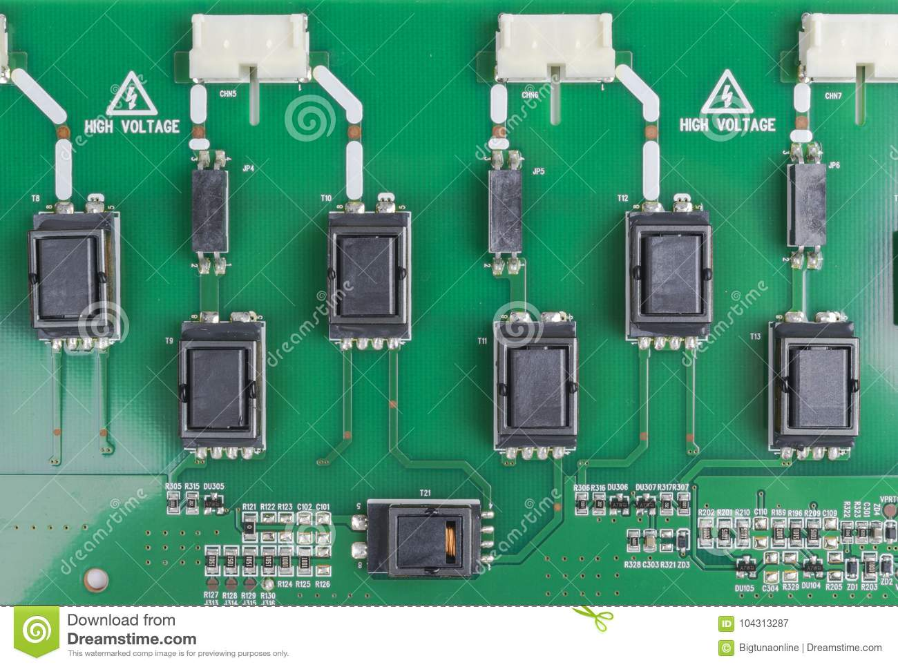 Circuitboard with resistors, microchips and electronic components. Electronic computer hardware technology. Integrated communicati