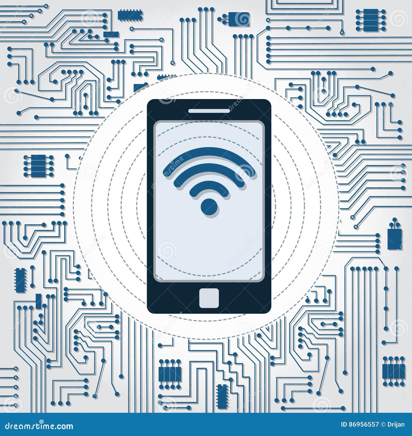 Circuito Wifi : Circuito del telefono di wifi e di elettronica illustrazione