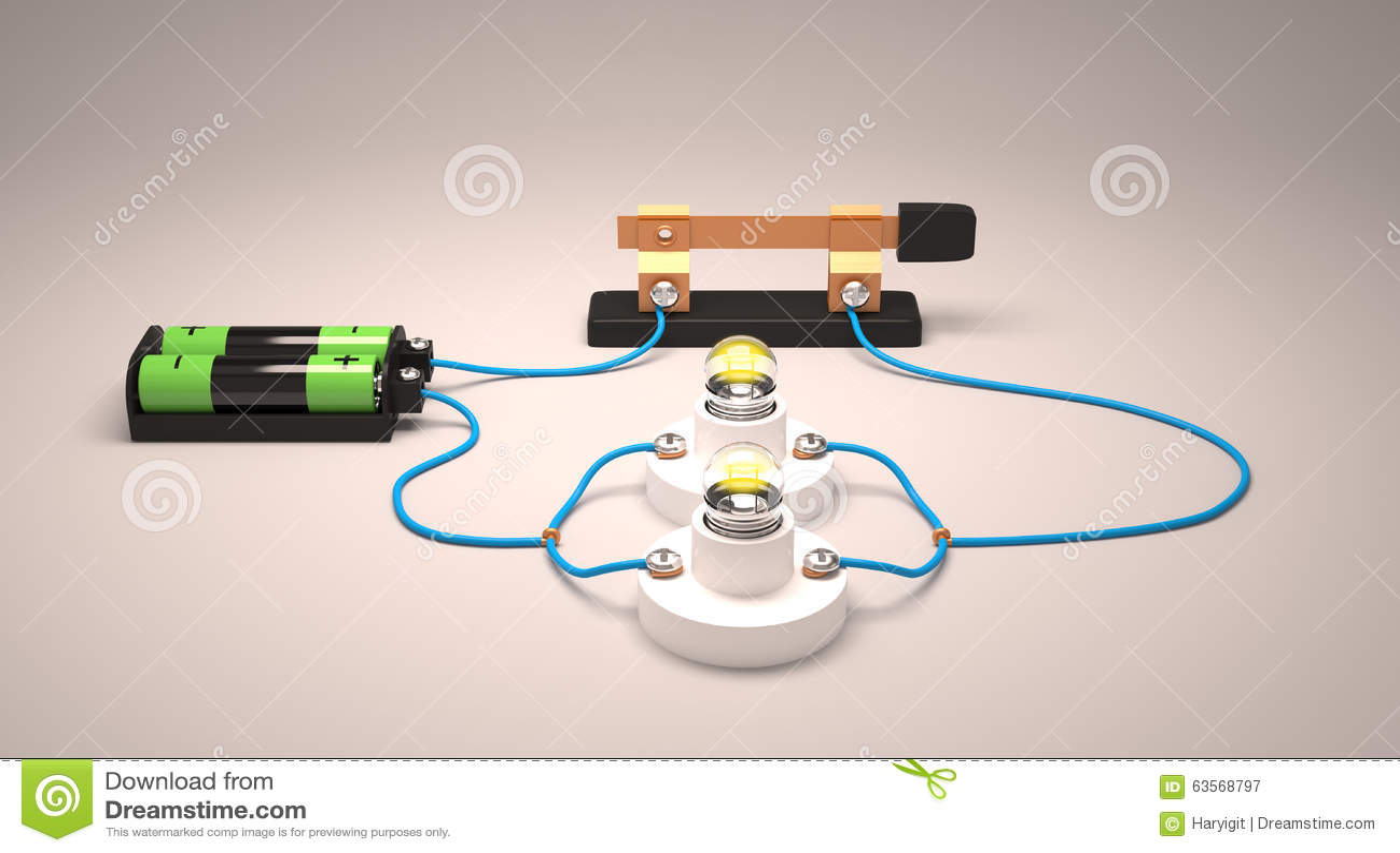 Circuito En Paralelo : Circuito eléctrico simple paralelo stock de ilustración