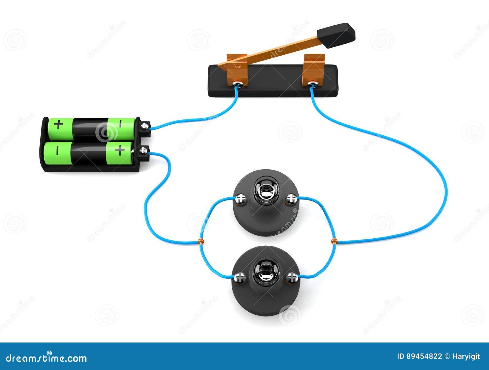 Circuito eléctrico simple paralelo en el fondo blanco