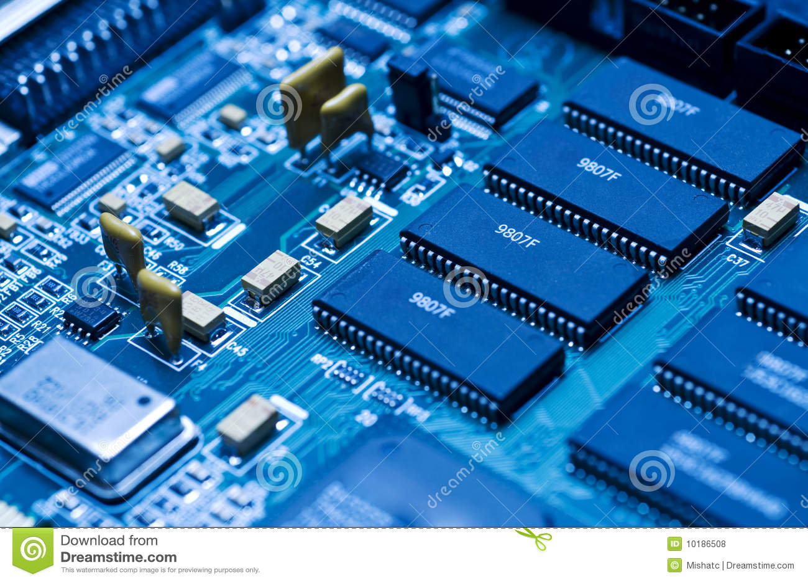Circuito Z : Circuito electrónico azul fotos de archivo libres