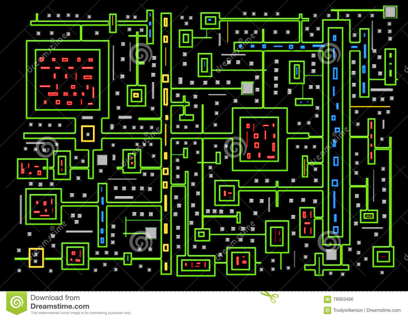 Circuits - Abstract Background - Neon Colors Stock Illustration ...