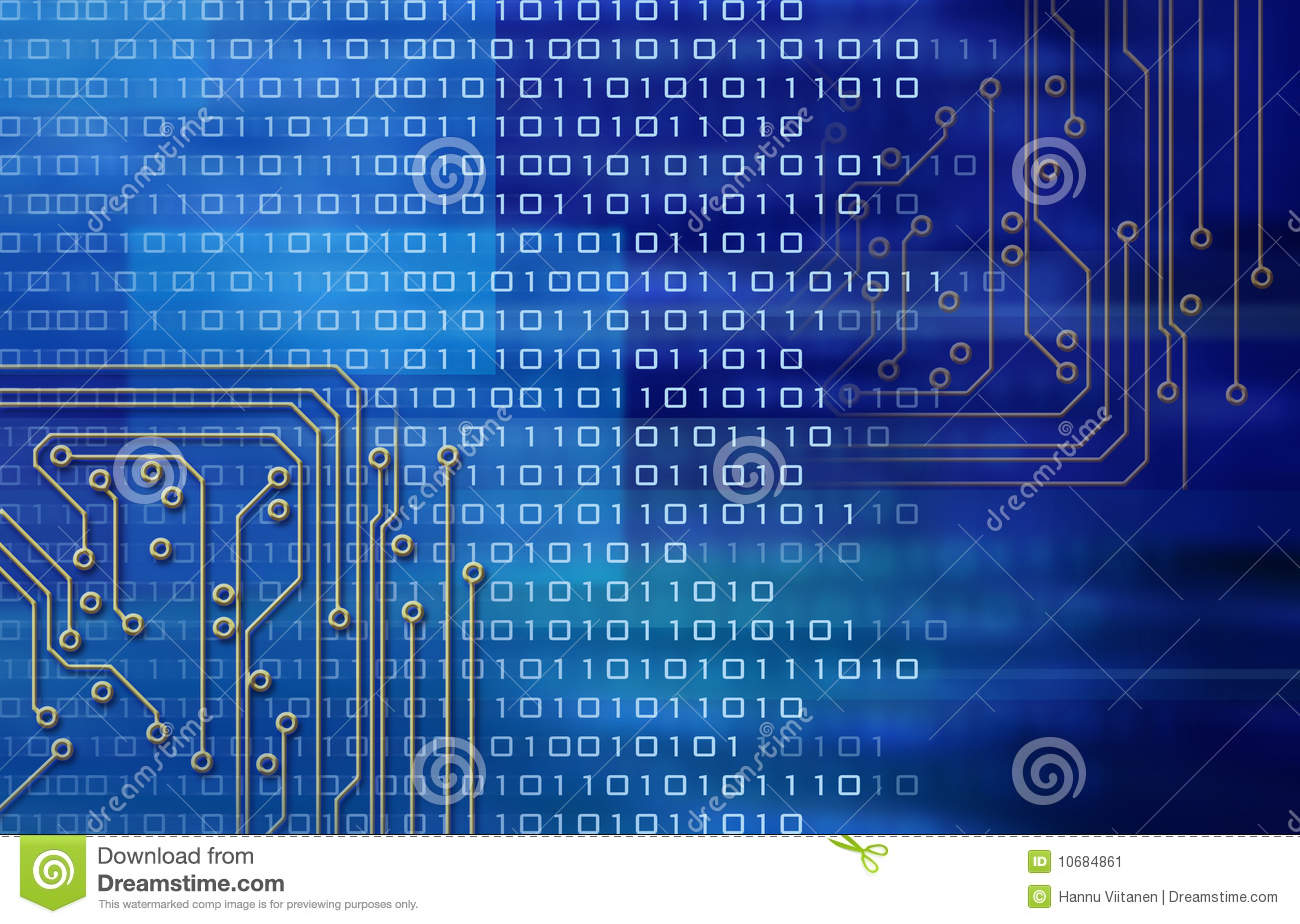 Electronic circuits and binary code on blue background.