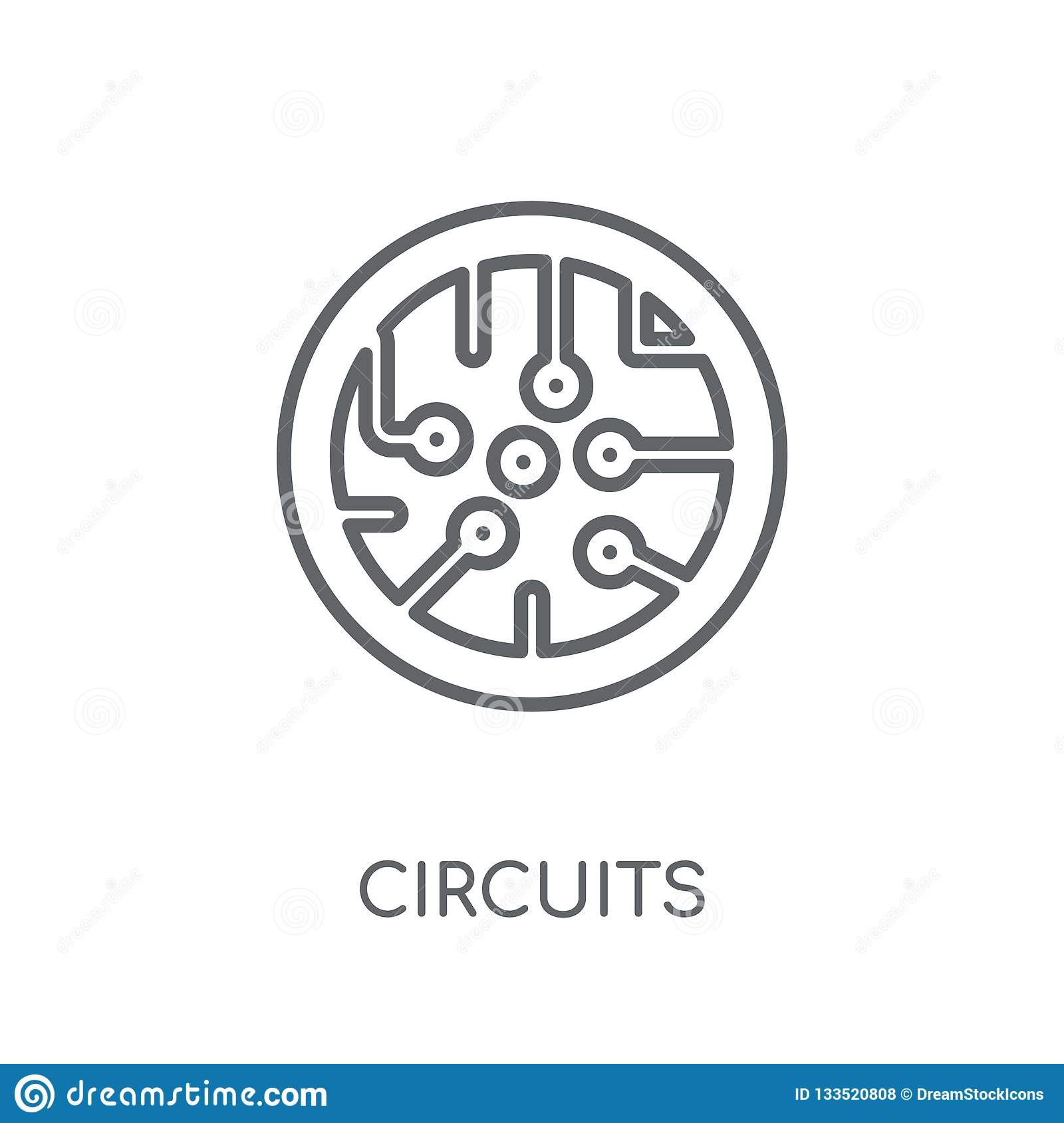 Circuits linear icon. Modern outline Circuits logo concept on wh