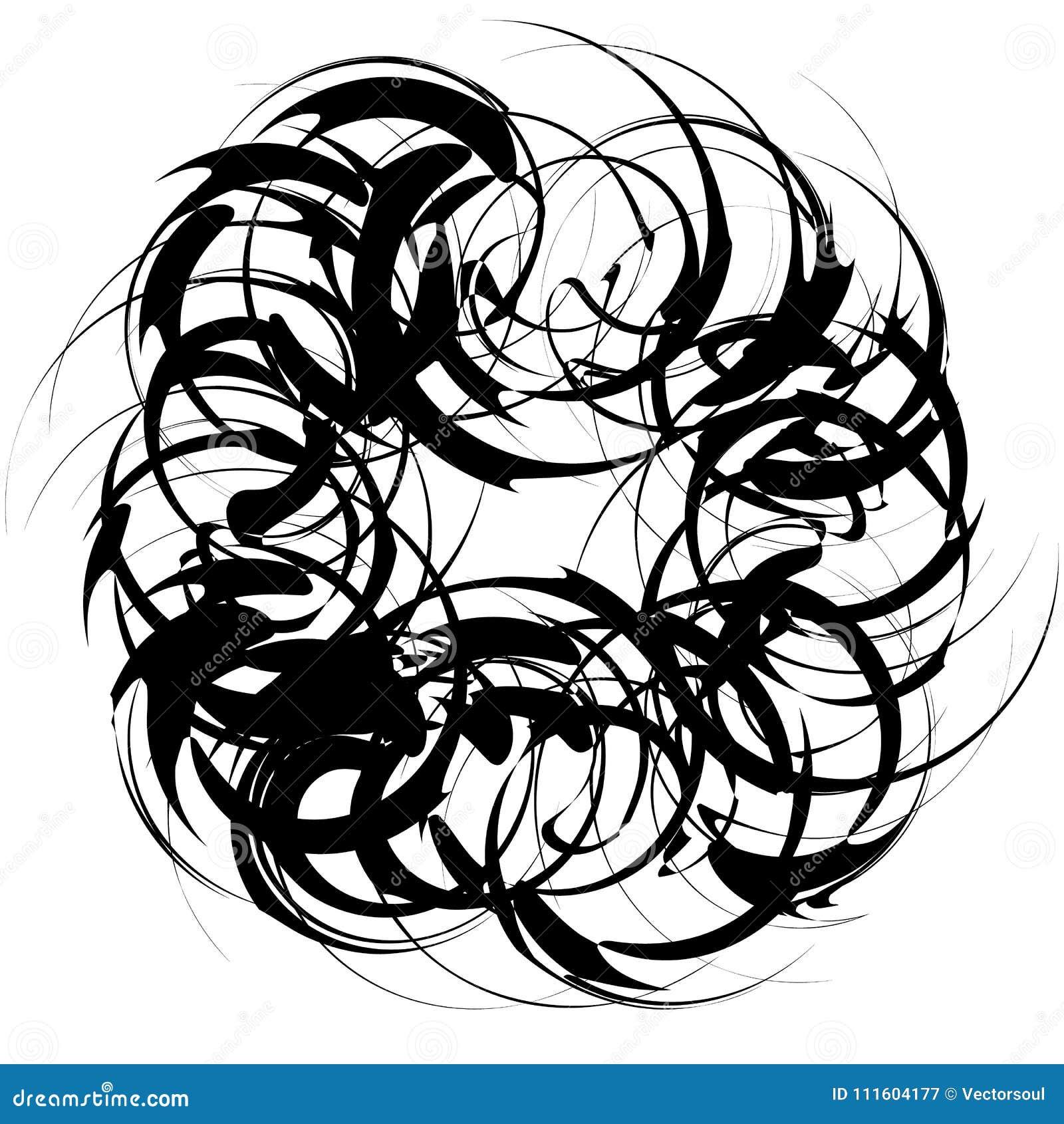 Circulaire, élément abstrait radial sur le blanc Rayonnement de la forme avec