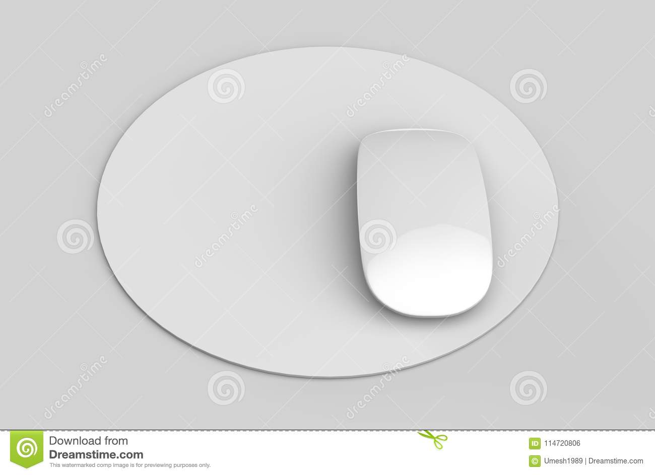 circular blank mouse pad with computer mouse for branding or design