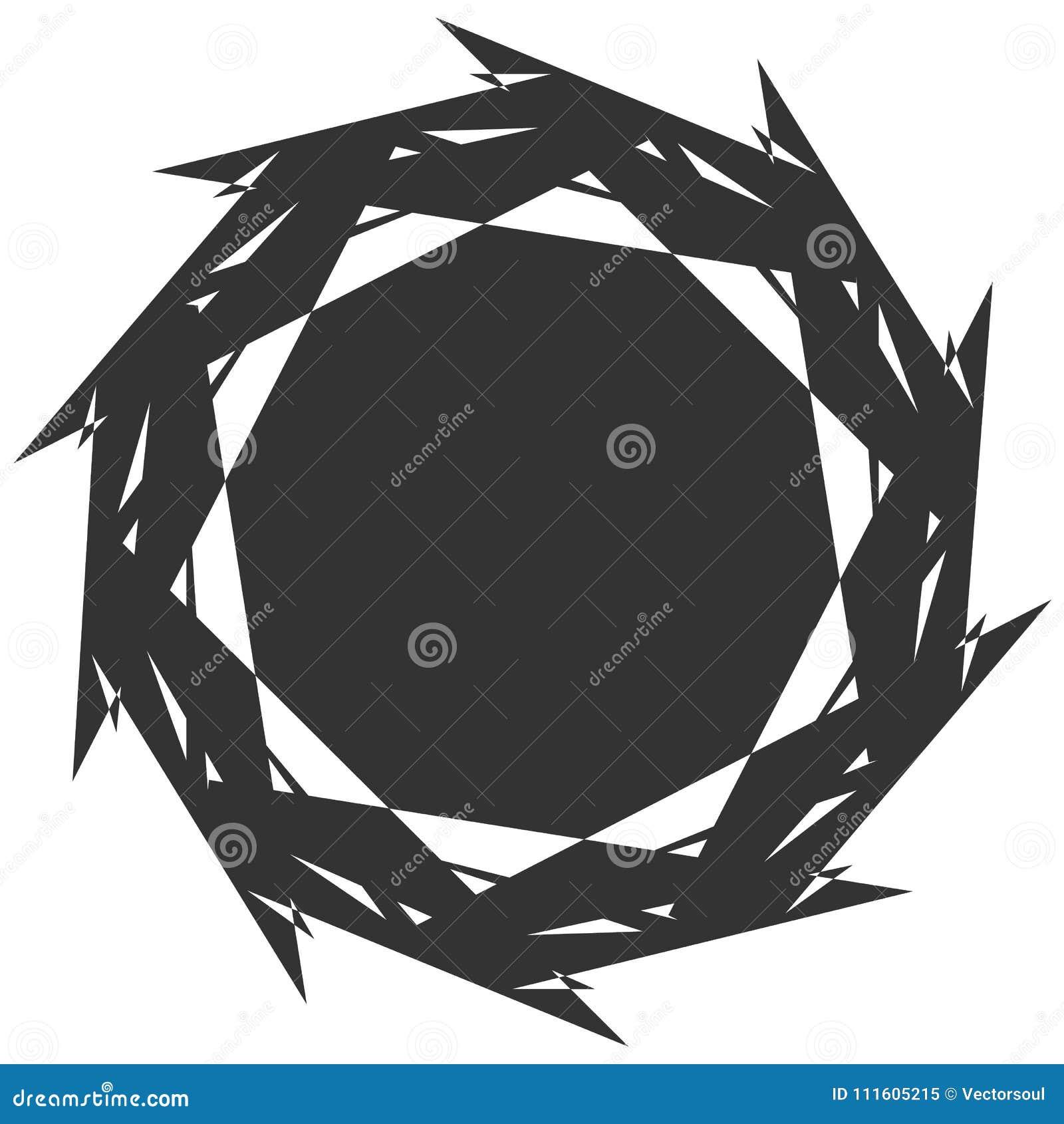 Circular, elemento abstracto radial en blanco Radiación de forma con