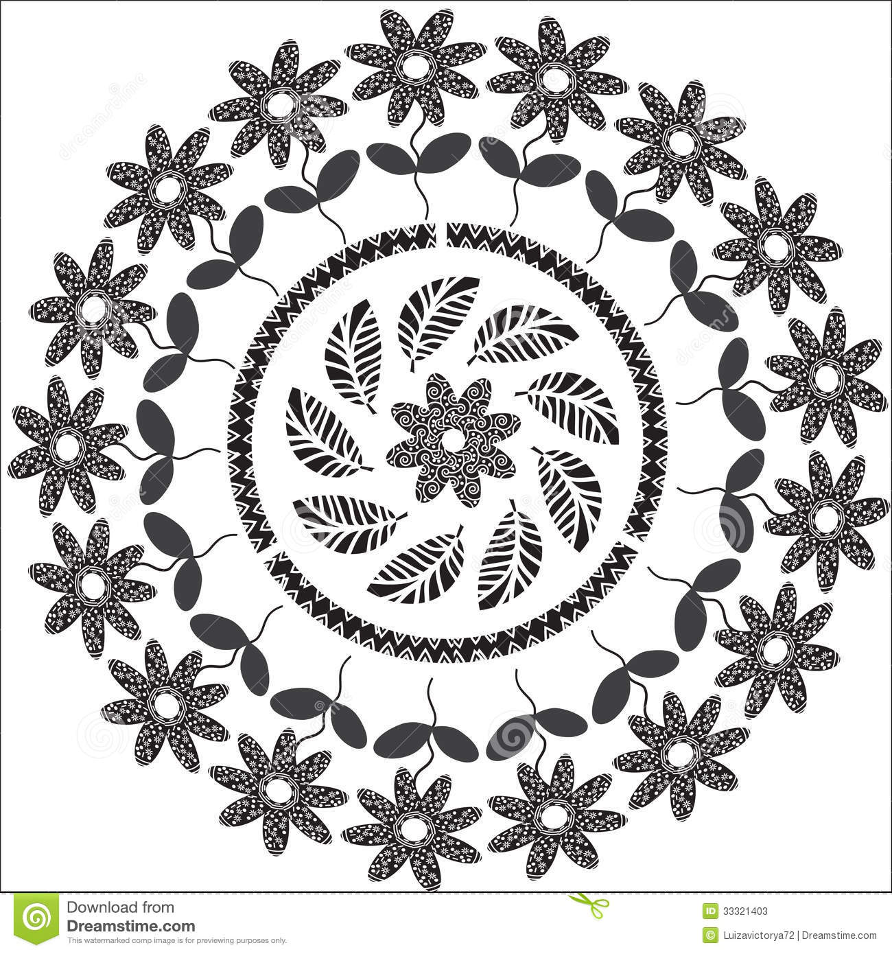 Circular Floral Ornament In Black For Different De Stock