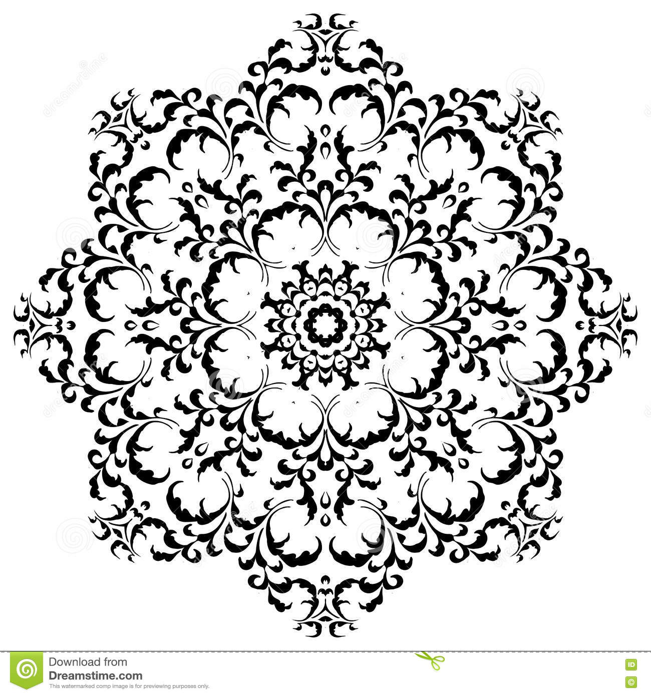 19b8bd169 Circular floral ornament in black and white. Mandala, Yantra brown. Vintage  vector banner frame card for text, invitations for wedding, birthday  celebration ...