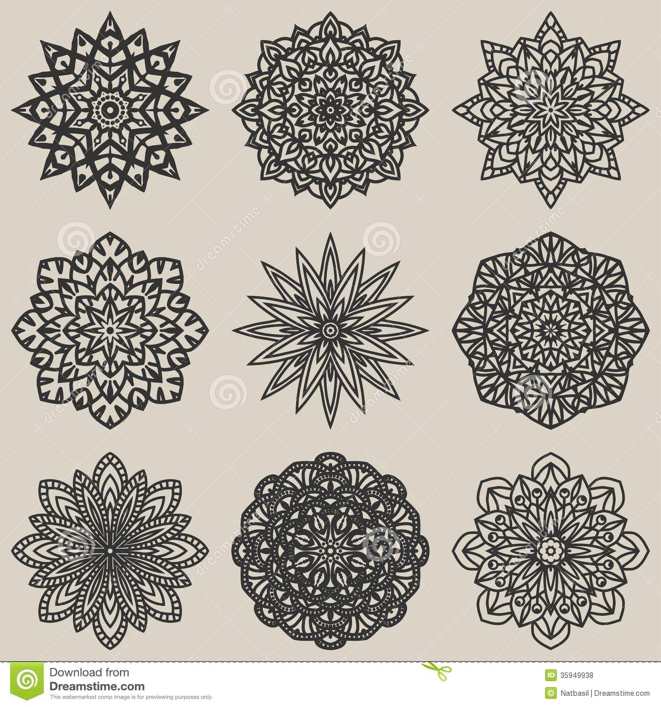 Circular Floral Pattern Set Royalty Free Stock Photos ...