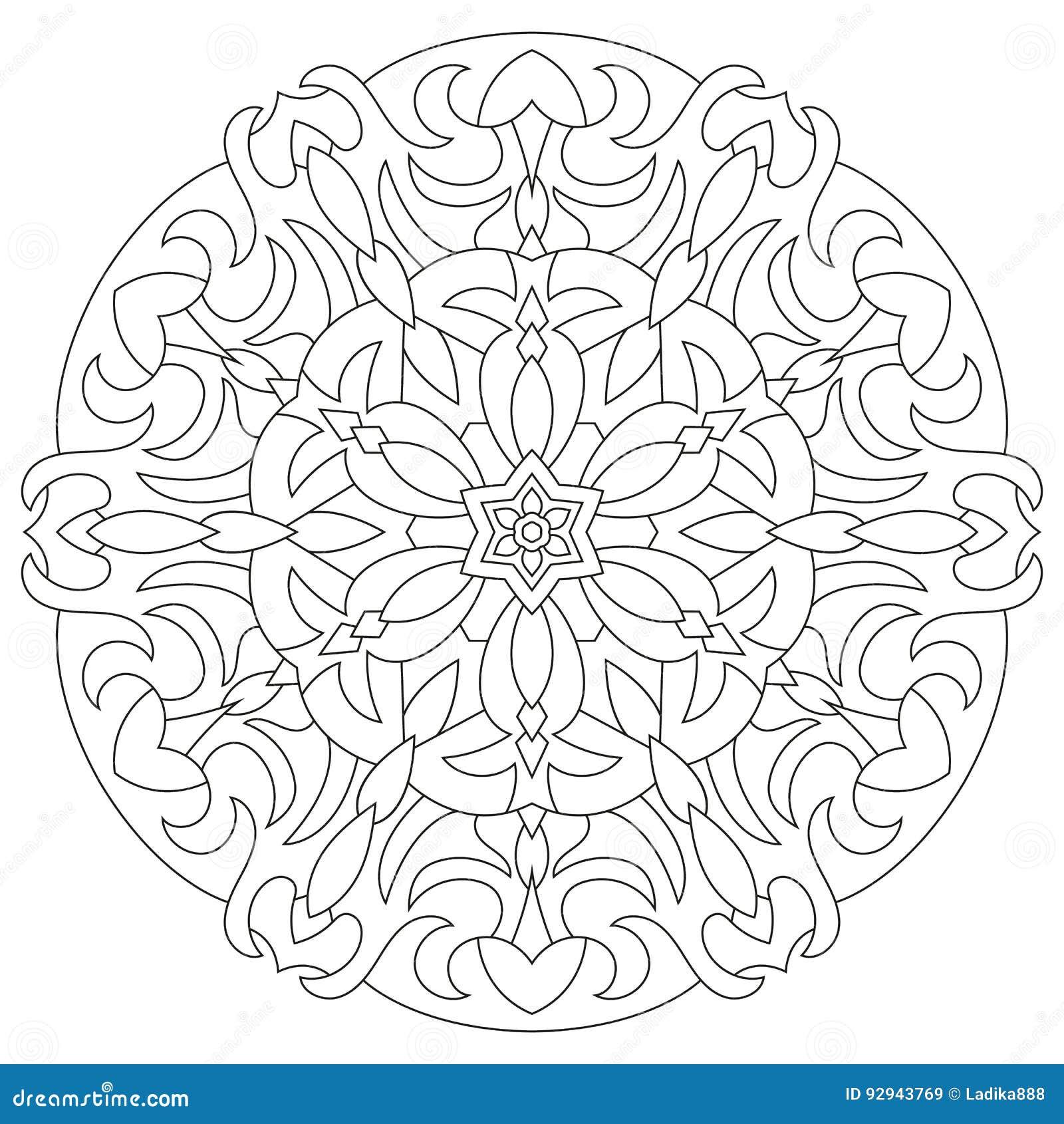 Circular Geometric Ornament Round Outline Mandala For Stock Vector